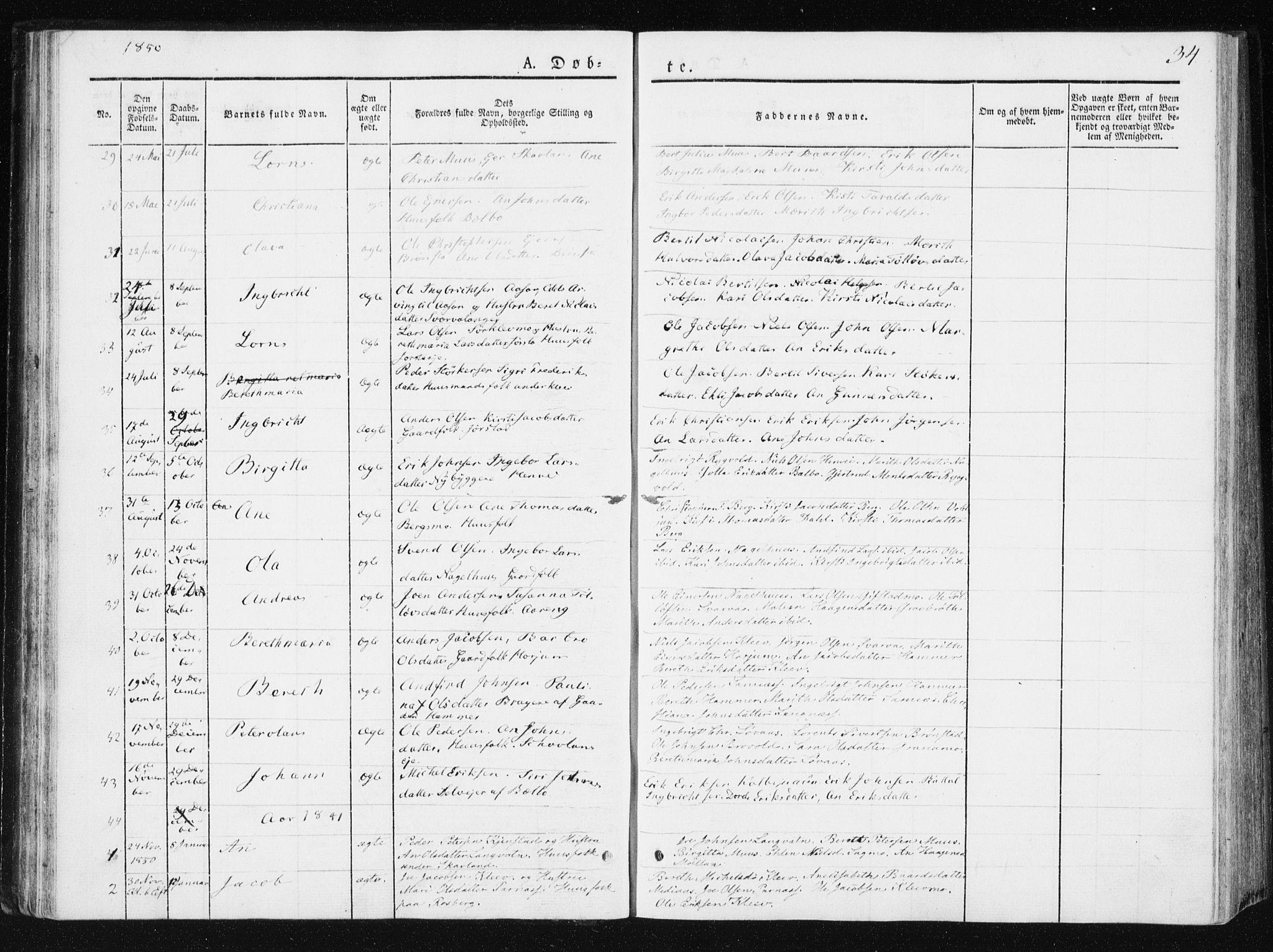 SAT, Ministerialprotokoller, klokkerbøker og fødselsregistre - Nord-Trøndelag, 749/L0470: Ministerialbok nr. 749A04, 1834-1853, s. 34