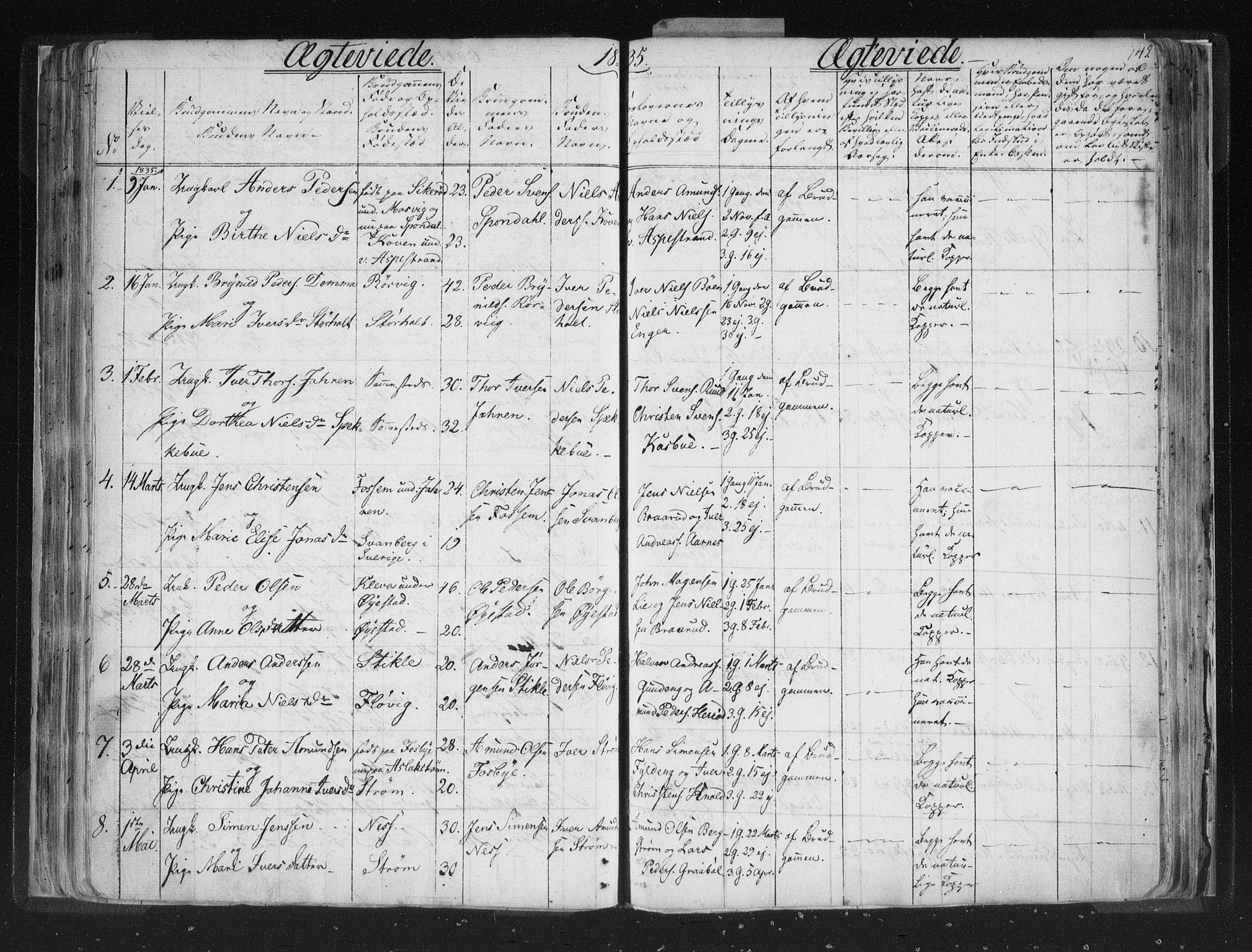 SAO, Aremark prestekontor Kirkebøker, F/Fc/L0002: Ministerialbok nr. III 2, 1834-1849, s. 142