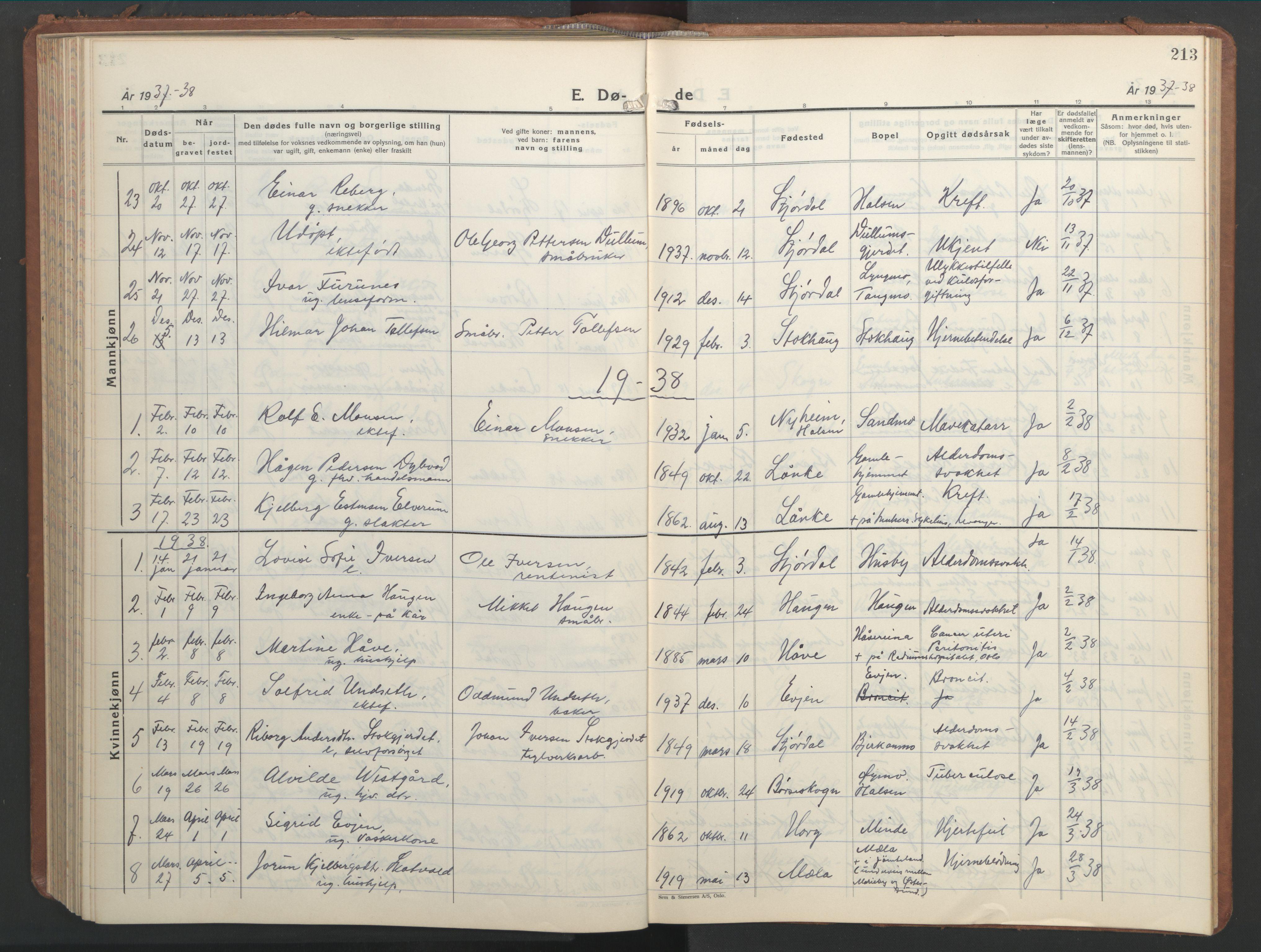 SAT, Ministerialprotokoller, klokkerbøker og fødselsregistre - Nord-Trøndelag, 709/L0089: Klokkerbok nr. 709C03, 1935-1948, s. 213