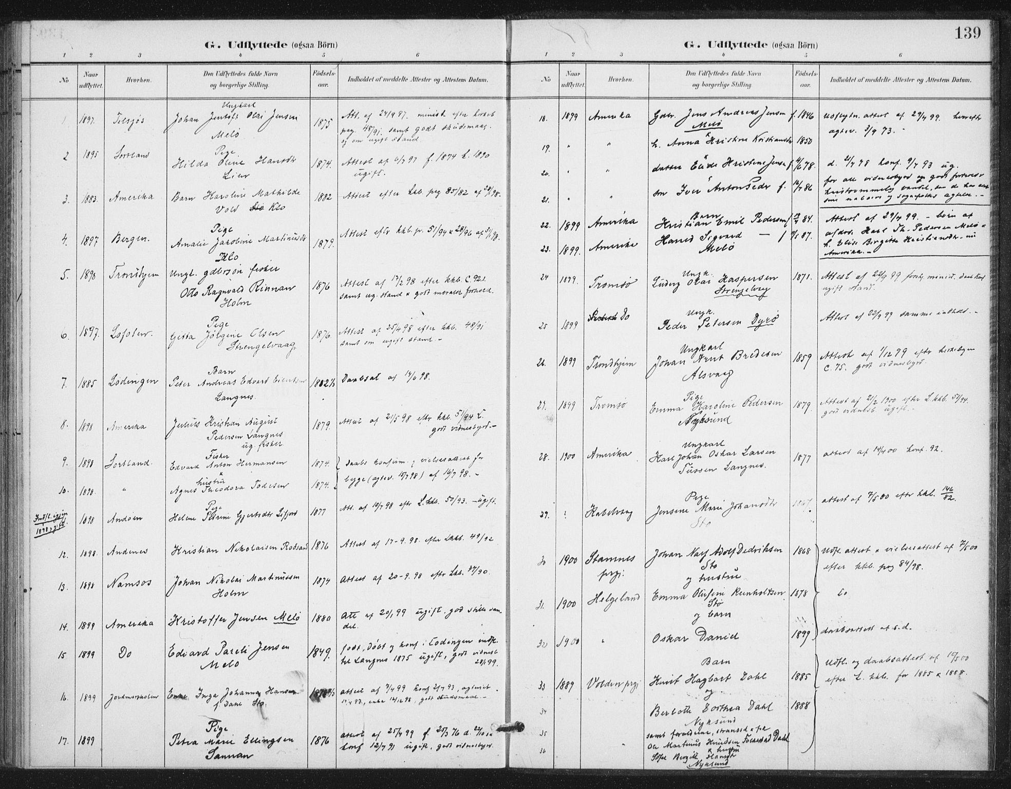 SAT, Ministerialprotokoller, klokkerbøker og fødselsregistre - Nordland, 894/L1356: Ministerialbok nr. 894A02, 1897-1914, s. 139