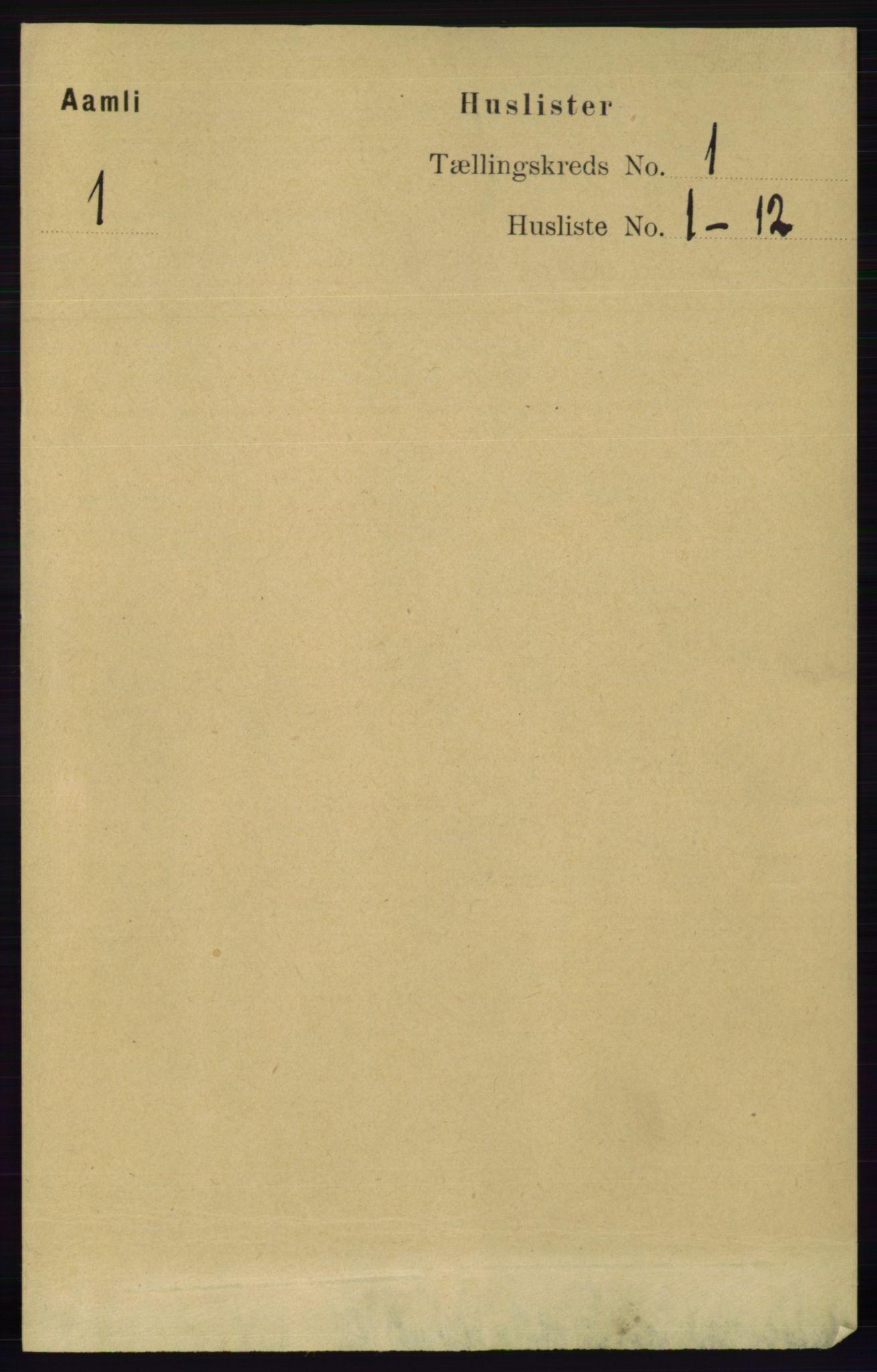 RA, Folketelling 1891 for 0929 Åmli herred, 1891, s. 44
