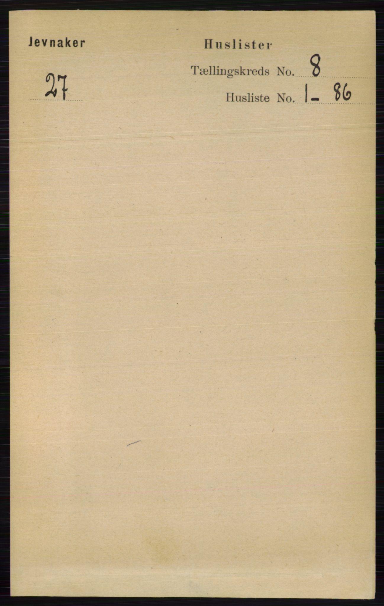RA, Folketelling 1891 for 0532 Jevnaker herred, 1891, s. 4250