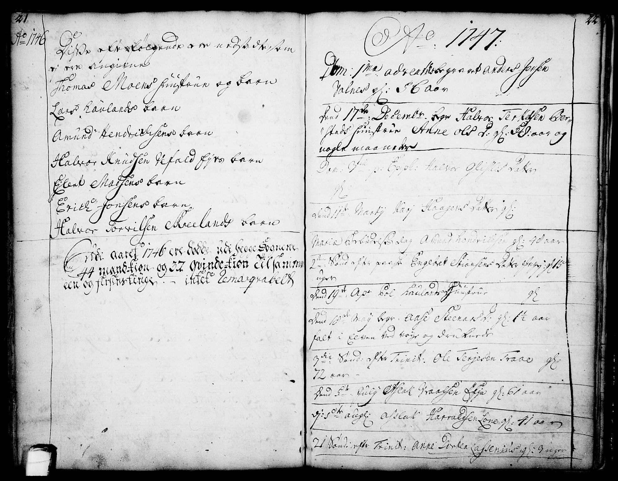 SAKO, Drangedal kirkebøker, F/Fa/L0002: Ministerialbok nr. 2, 1733-1753, s. 21-22