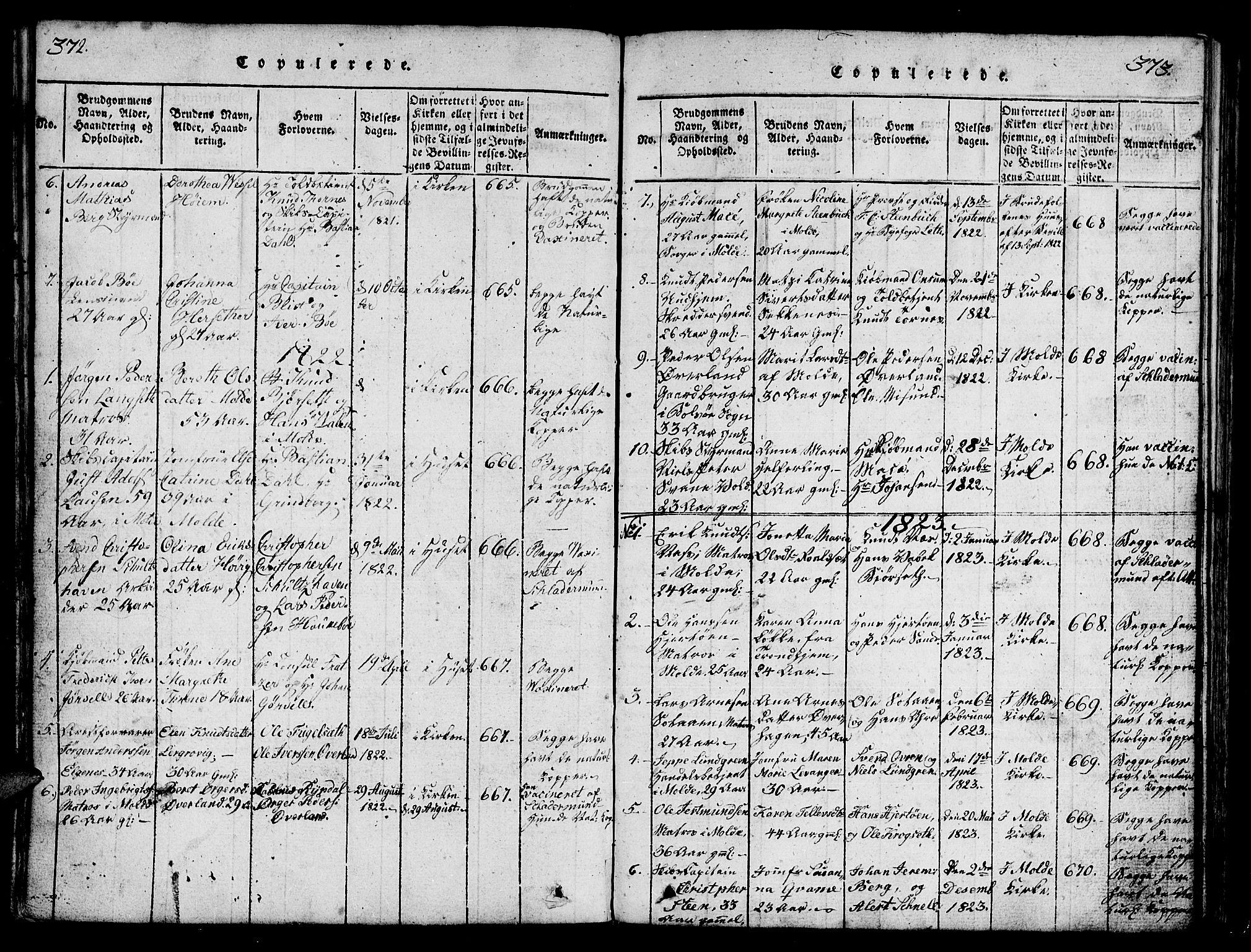 SAT, Ministerialprotokoller, klokkerbøker og fødselsregistre - Møre og Romsdal, 558/L0700: Klokkerbok nr. 558C01, 1818-1868, s. 372-373