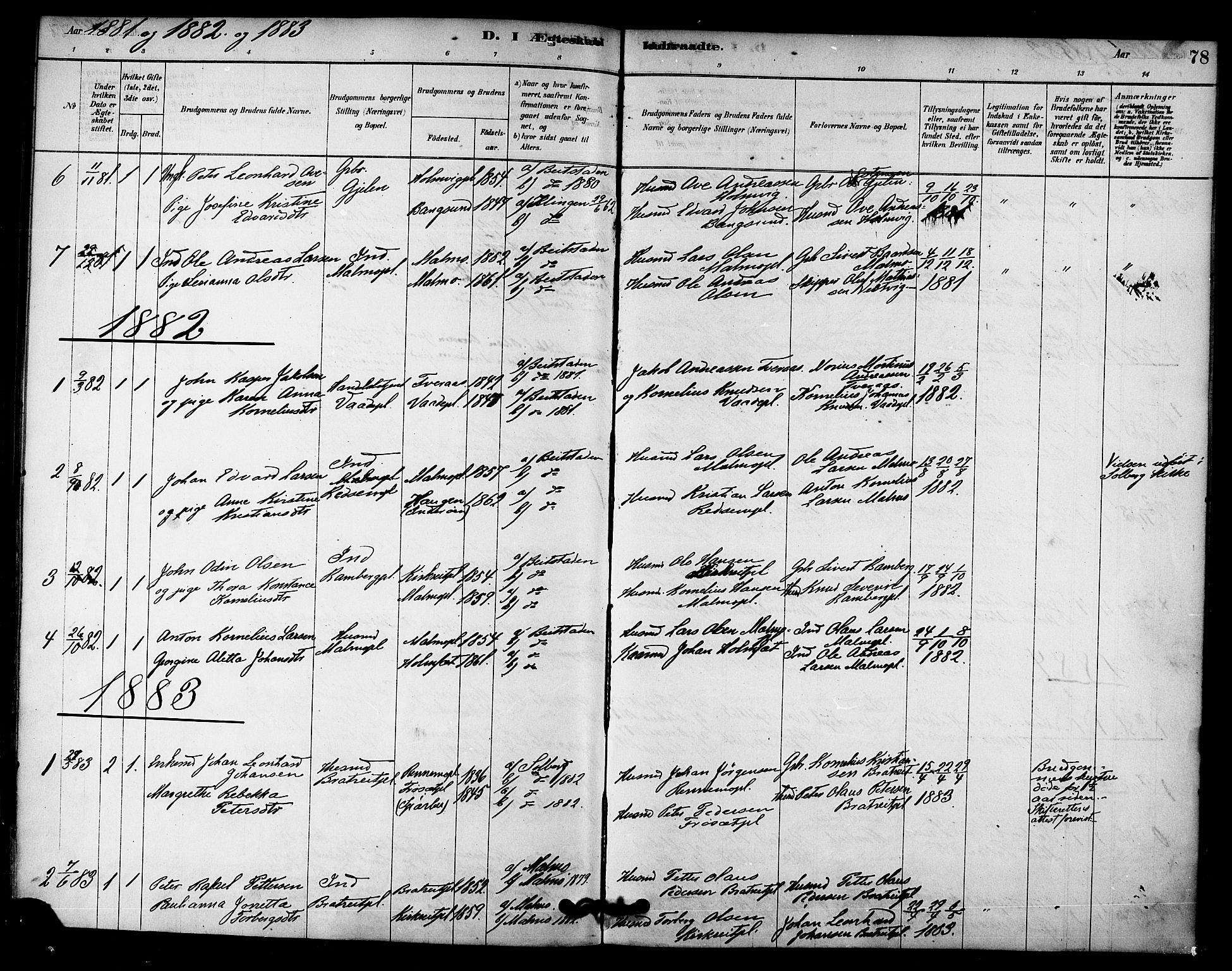 SAT, Ministerialprotokoller, klokkerbøker og fødselsregistre - Nord-Trøndelag, 745/L0429: Ministerialbok nr. 745A01, 1878-1894, s. 78