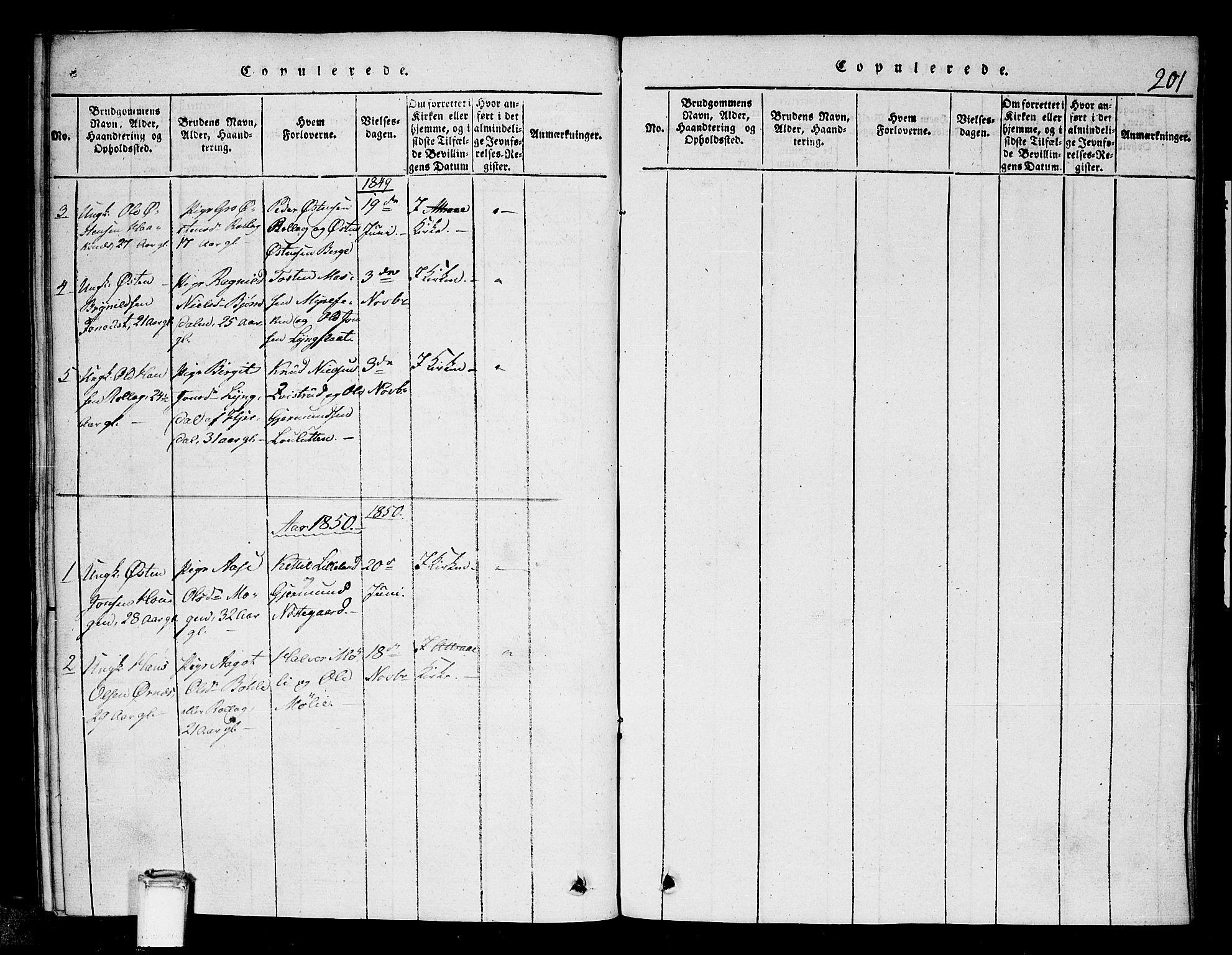SAKO, Tinn kirkebøker, G/Gb/L0001: Klokkerbok nr. II 1 /1, 1815-1850, s. 201