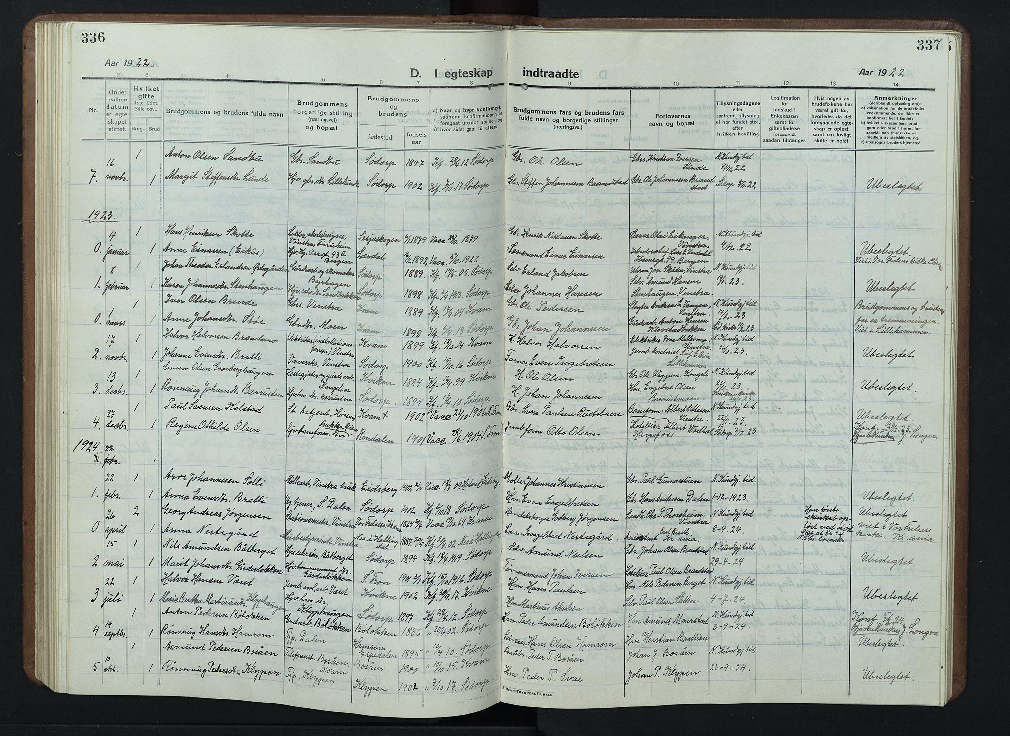 SAH, Nord-Fron prestekontor, Klokkerbok nr. 7, 1915-1946, s. 336-337