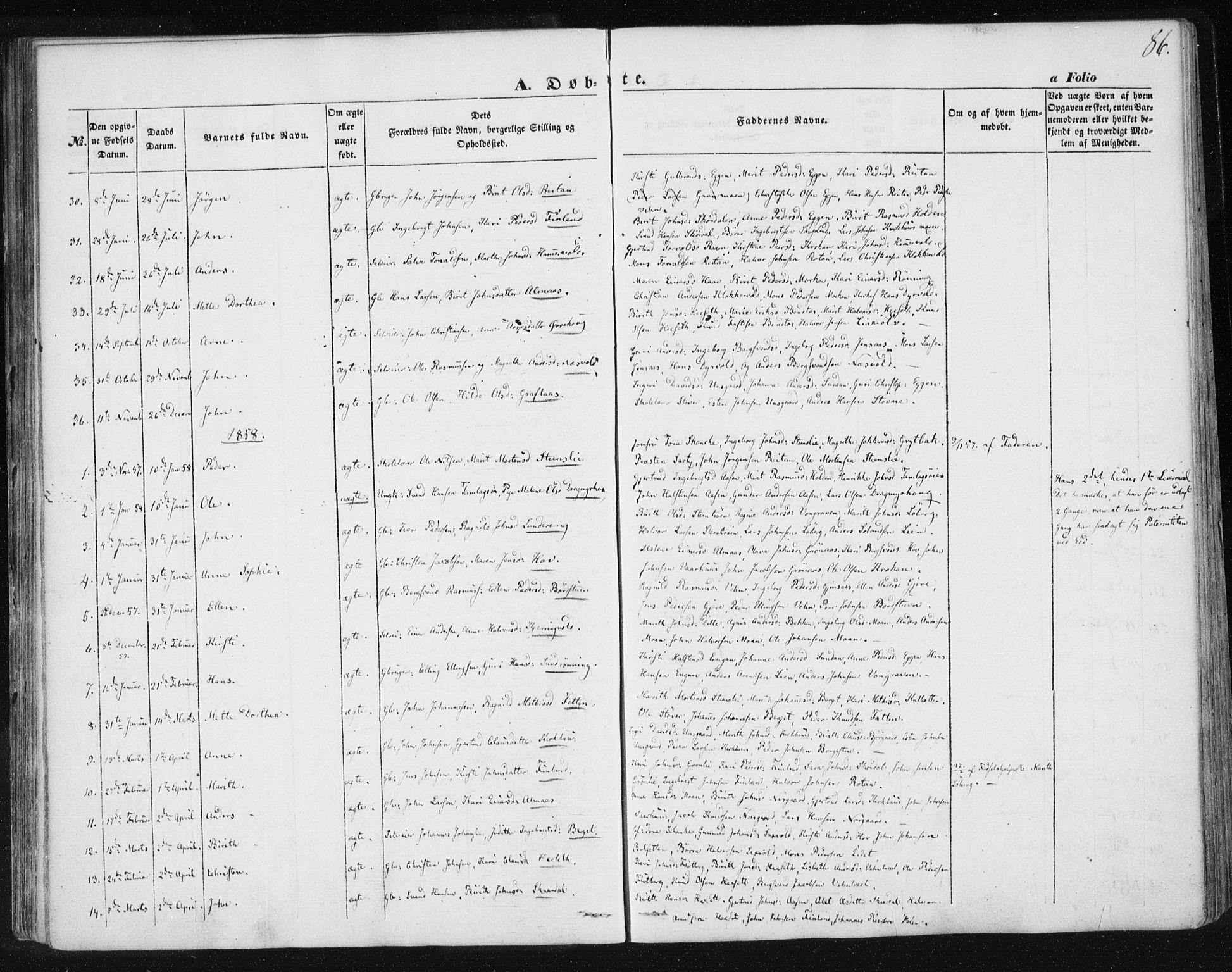 SAT, Ministerialprotokoller, klokkerbøker og fødselsregistre - Sør-Trøndelag, 685/L0965: Ministerialbok nr. 685A06 /3, 1846-1859, s. 86