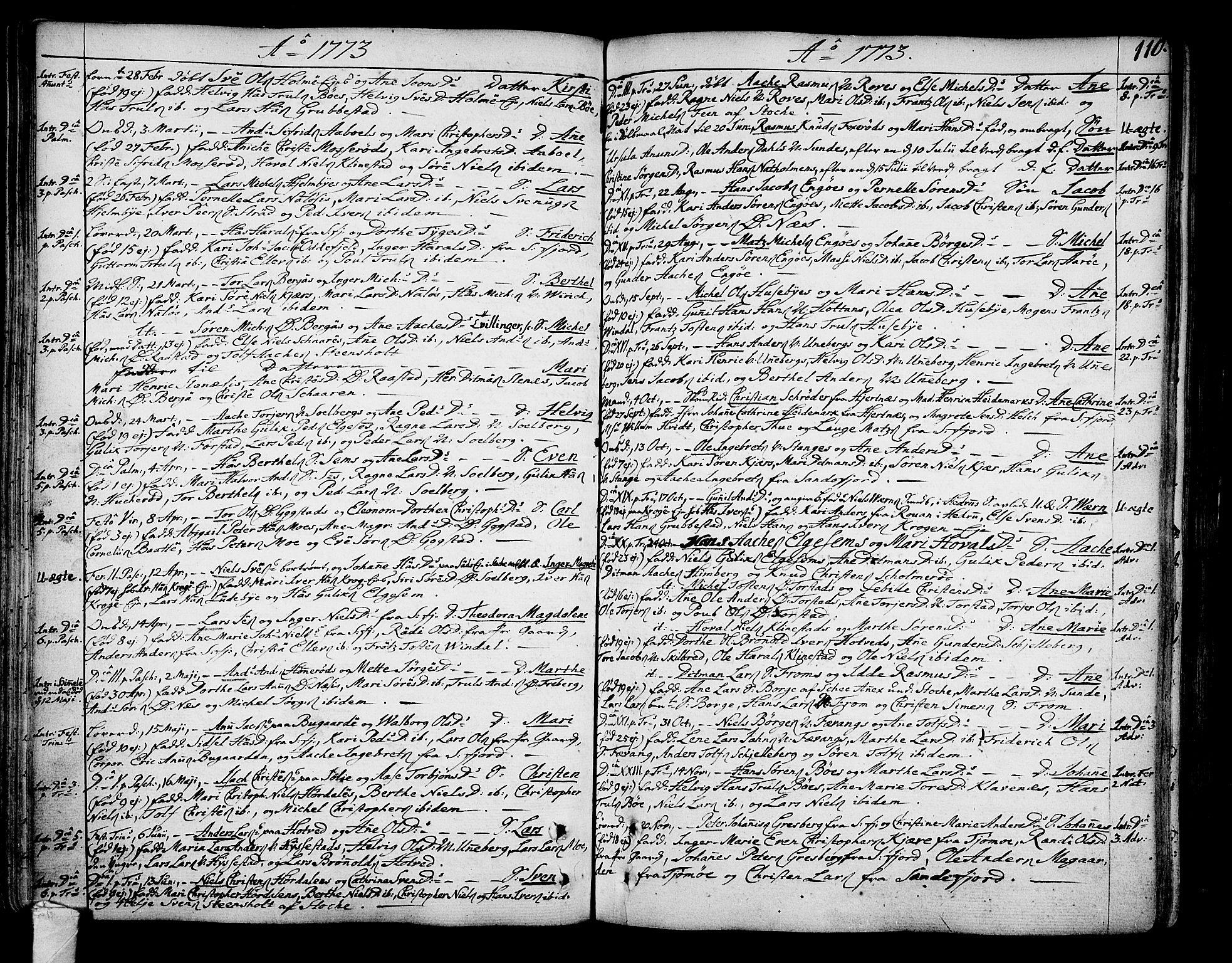 SAKO, Sandar kirkebøker, F/Fa/L0002: Ministerialbok nr. 2, 1733-1788, s. 110