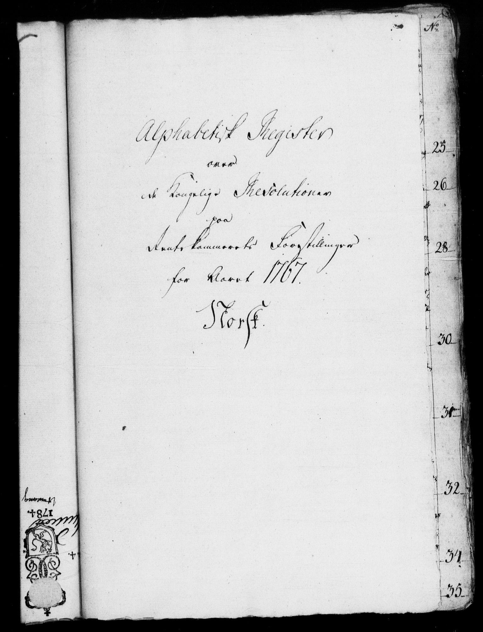 RA, Rentekammeret, Kammerkanselliet, G/Gf/Gfb/L0007: Register til norske relasjons- og resolusjonsprotokoller (merket RK 52.102), 1765-1771, s. 154