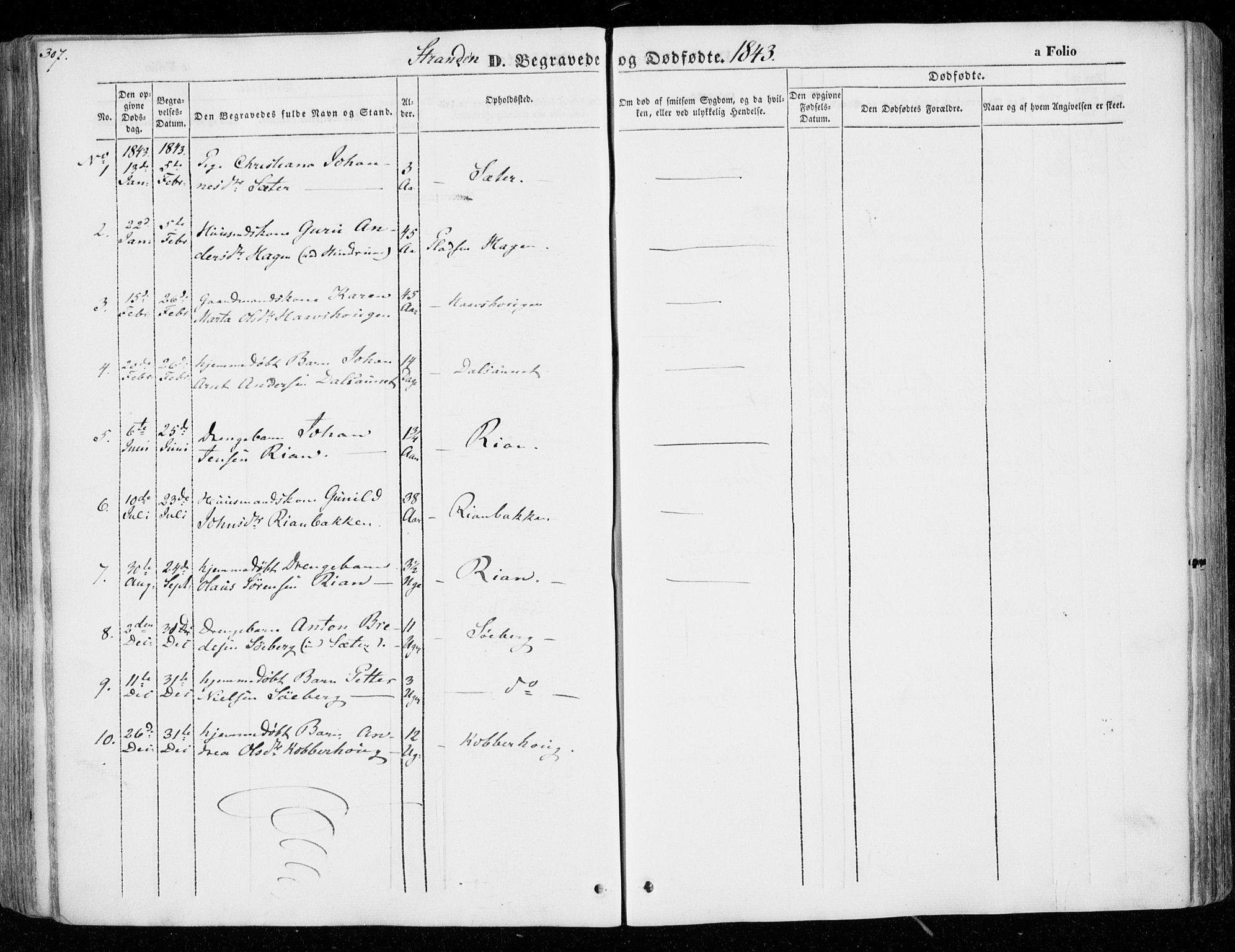 SAT, Ministerialprotokoller, klokkerbøker og fødselsregistre - Nord-Trøndelag, 701/L0007: Ministerialbok nr. 701A07 /2, 1842-1854, s. 307