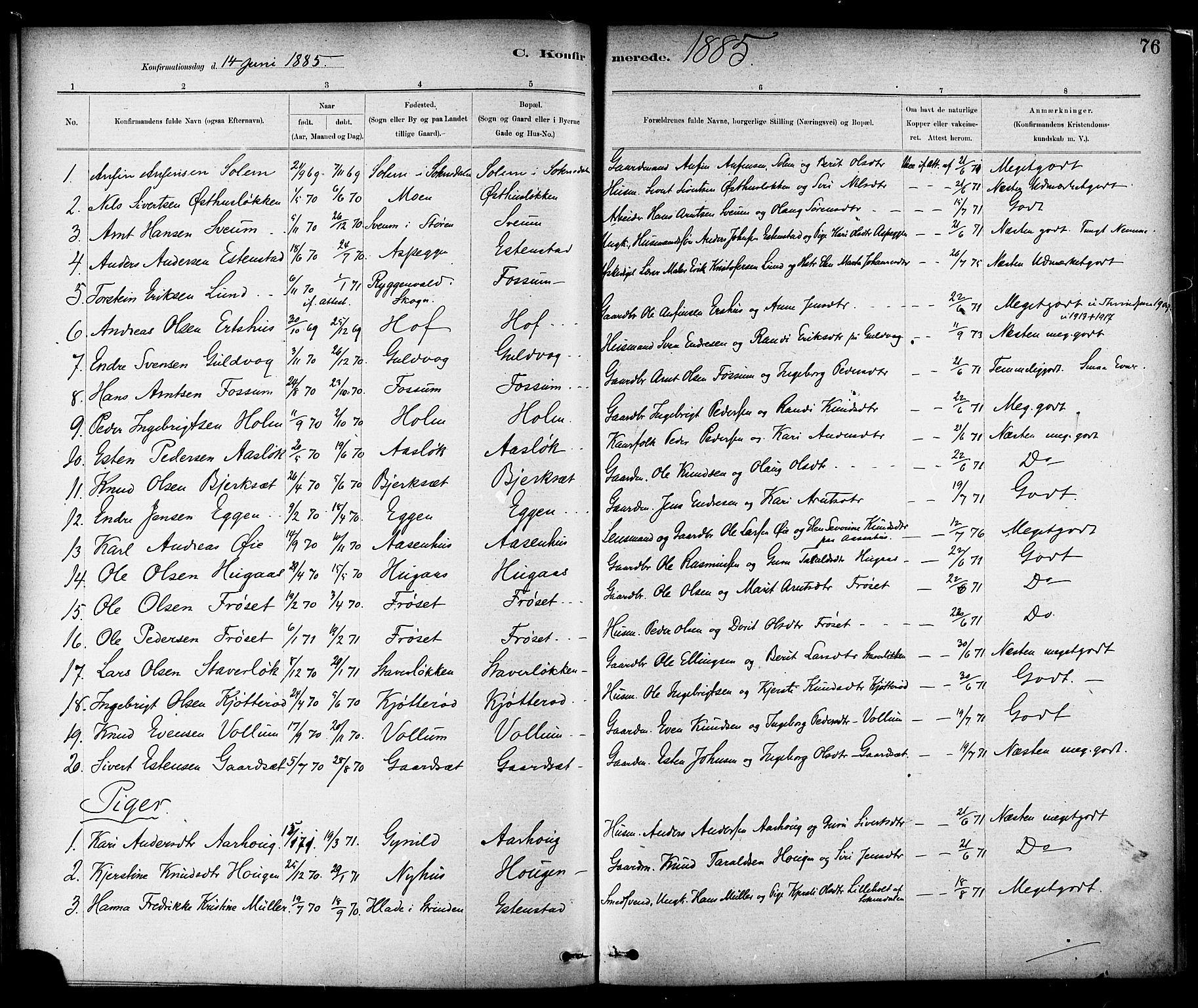 SAT, Ministerialprotokoller, klokkerbøker og fødselsregistre - Sør-Trøndelag, 689/L1040: Ministerialbok nr. 689A05, 1878-1890, s. 76