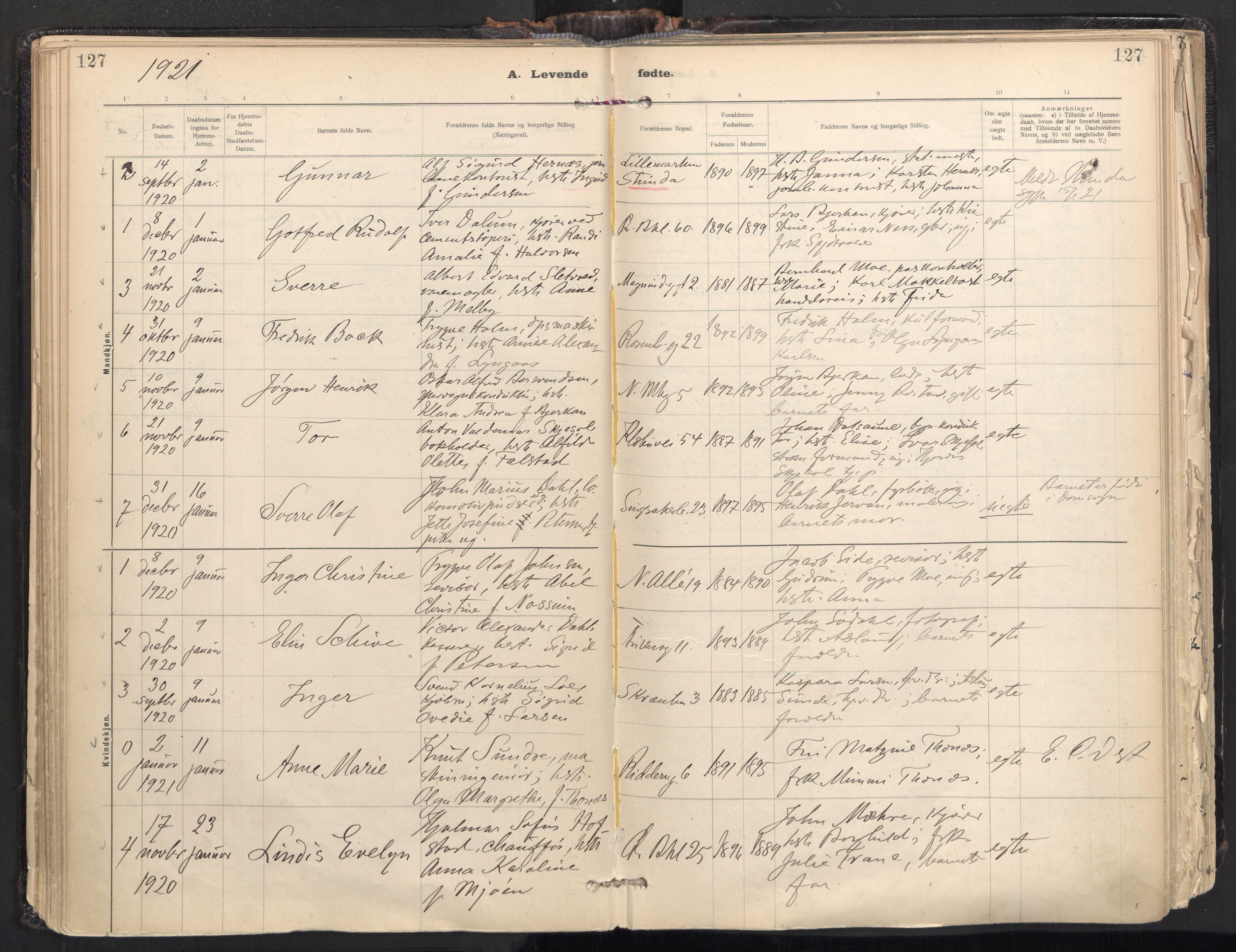 SAT, Ministerialprotokoller, klokkerbøker og fødselsregistre - Sør-Trøndelag, 604/L0205: Ministerialbok nr. 604A25, 1917-1932, s. 127