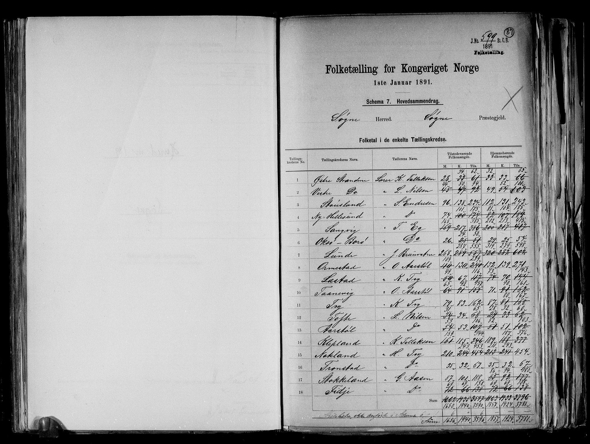 RA, Folketelling 1891 for 1018 Søgne herred, 1891, s. 2