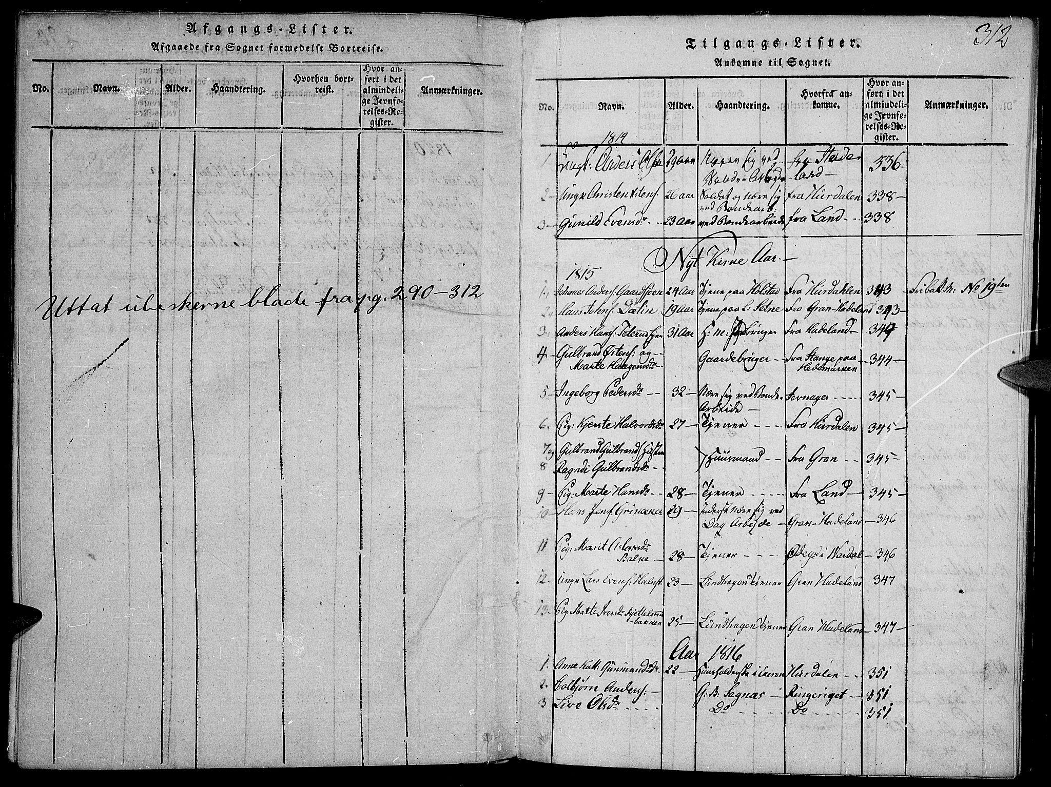 SAH, Toten prestekontor, Ministerialbok nr. 9, 1814-1820, s. 312
