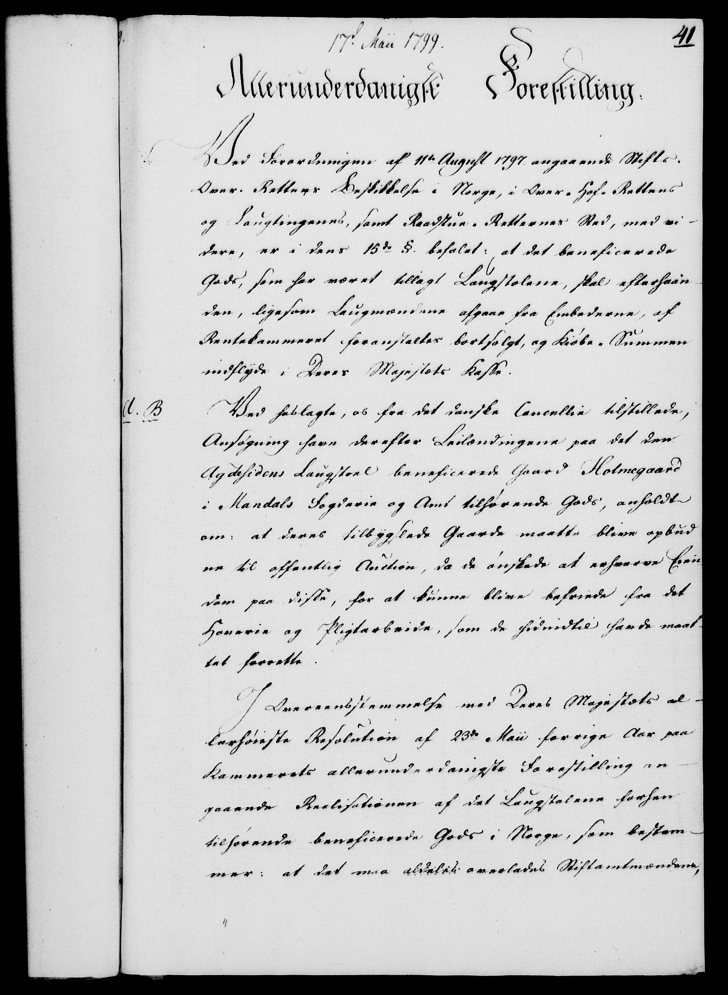 RA, Rentekammeret, Kammerkanselliet, G/Gf/Gfa/L0081: Norsk relasjons- og resolusjonsprotokoll (merket RK 52.81), 1799, s. 267