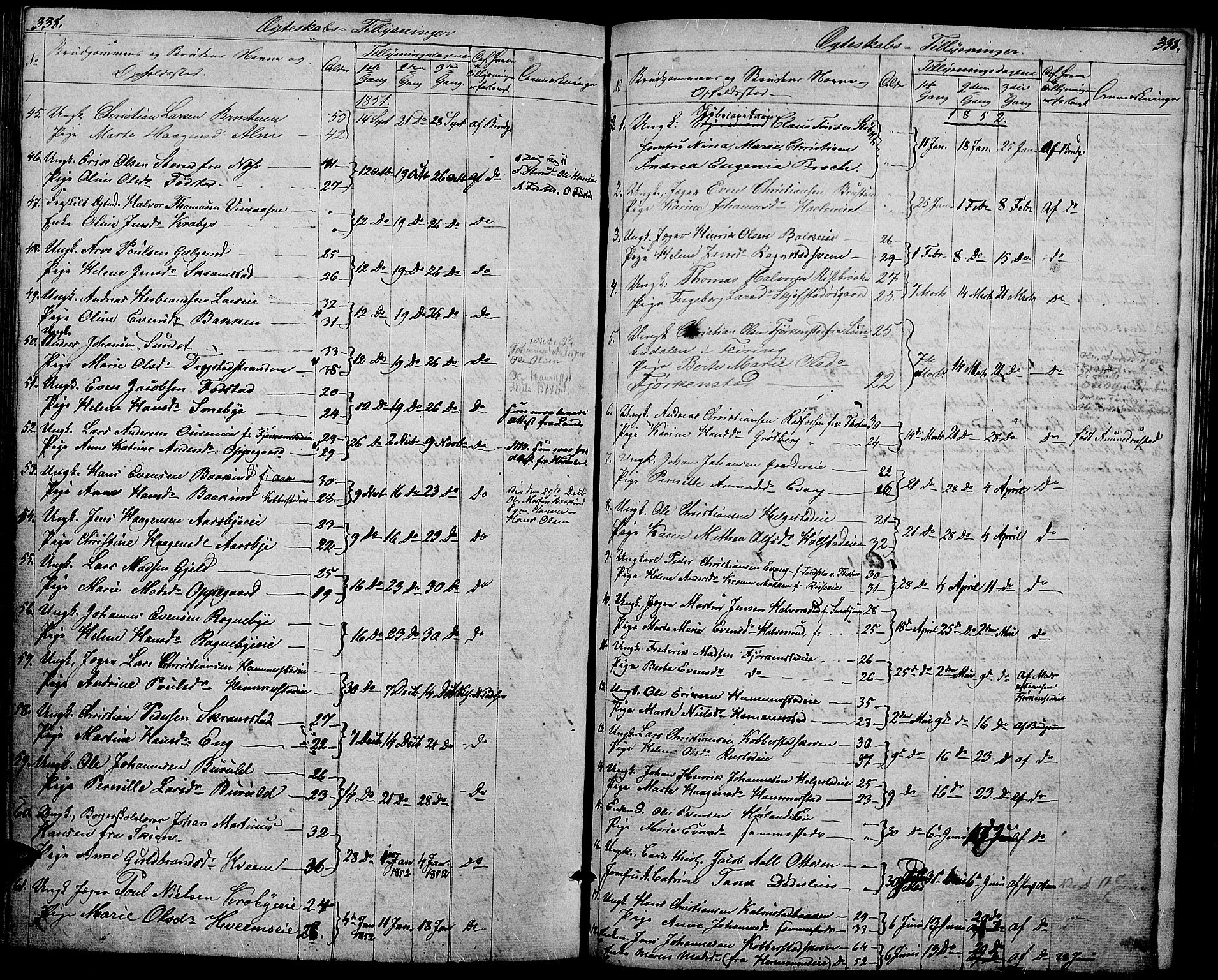 SAH, Østre Toten prestekontor, Klokkerbok nr. 3, 1848-1857, s. 338