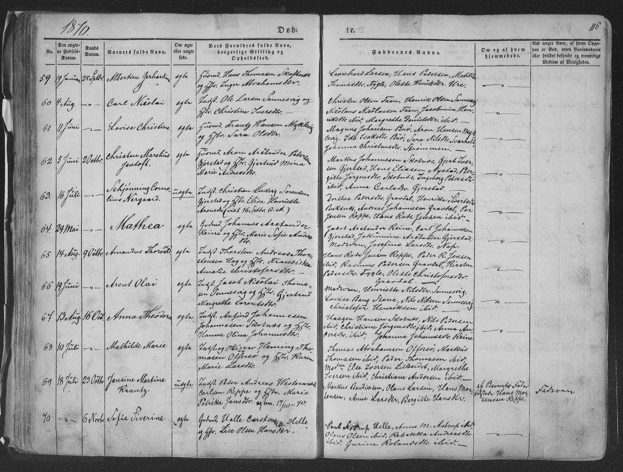 SAT, Ministerialprotokoller, klokkerbøker og fødselsregistre - Nordland, 881/L1165: Klokkerbok nr. 881C02, 1854-1876, s. 116