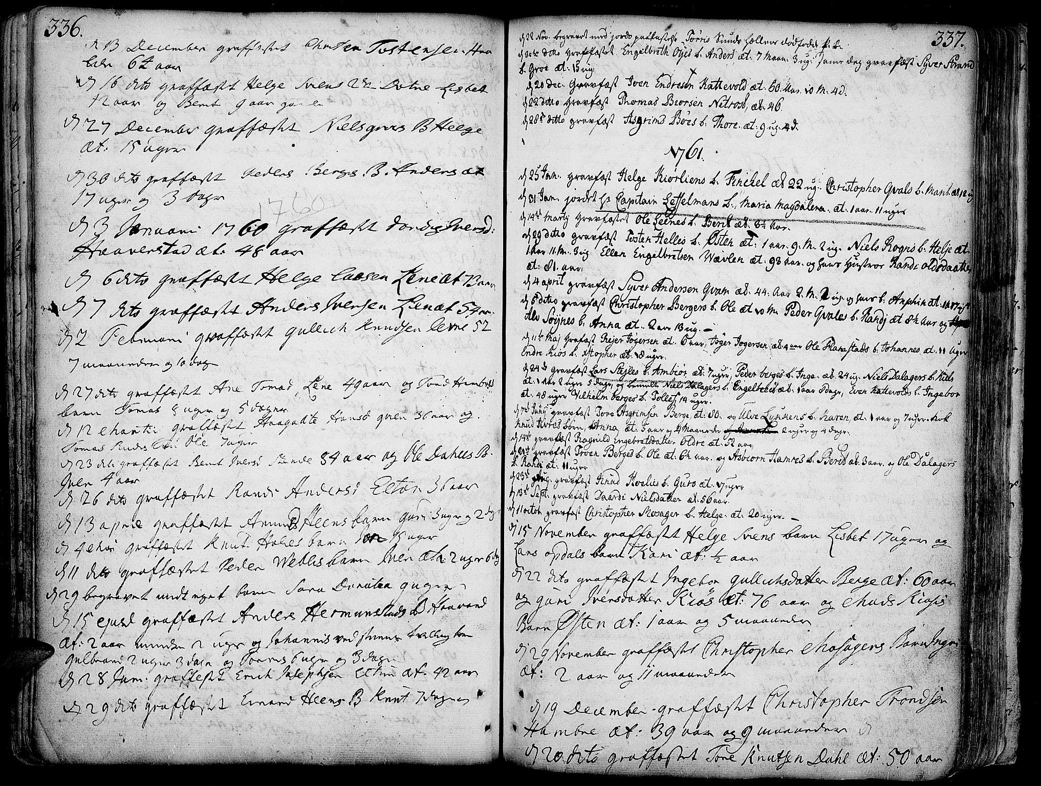 SAH, Vang prestekontor, Valdres, Ministerialbok nr. 1, 1730-1796, s. 336-337