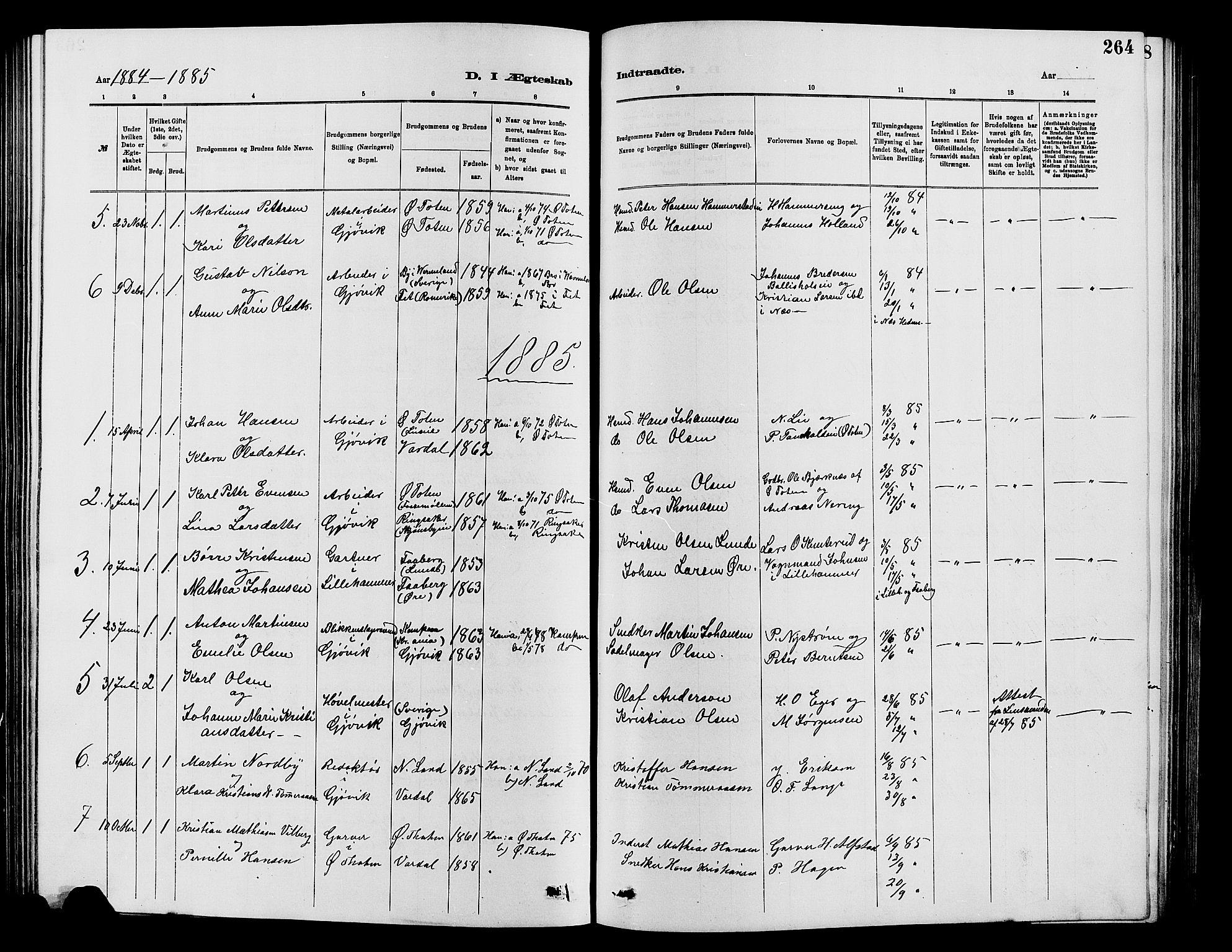 SAH, Vardal prestekontor, H/Ha/Hab/L0007: Klokkerbok nr. 7 /2, 1881-1895, s. 264