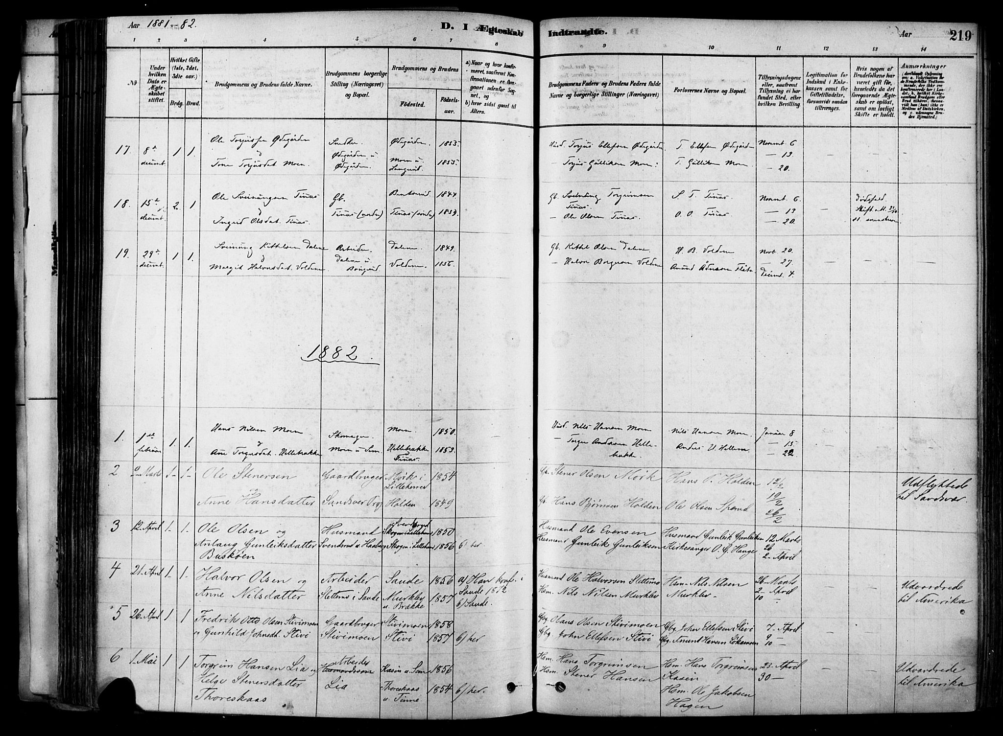 SAKO, Heddal kirkebøker, F/Fa/L0008: Ministerialbok nr. I 8, 1878-1903, s. 219