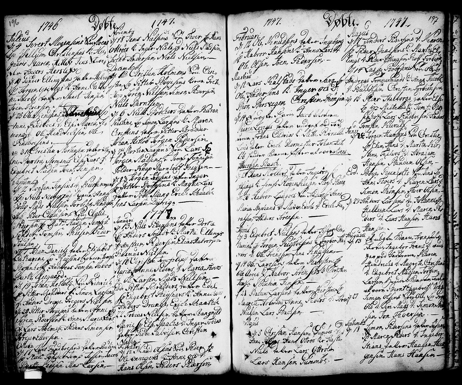 SAKO, Kragerø kirkebøker, F/Fa/L0001: Ministerialbok nr. 1, 1702-1766, s. 196-197