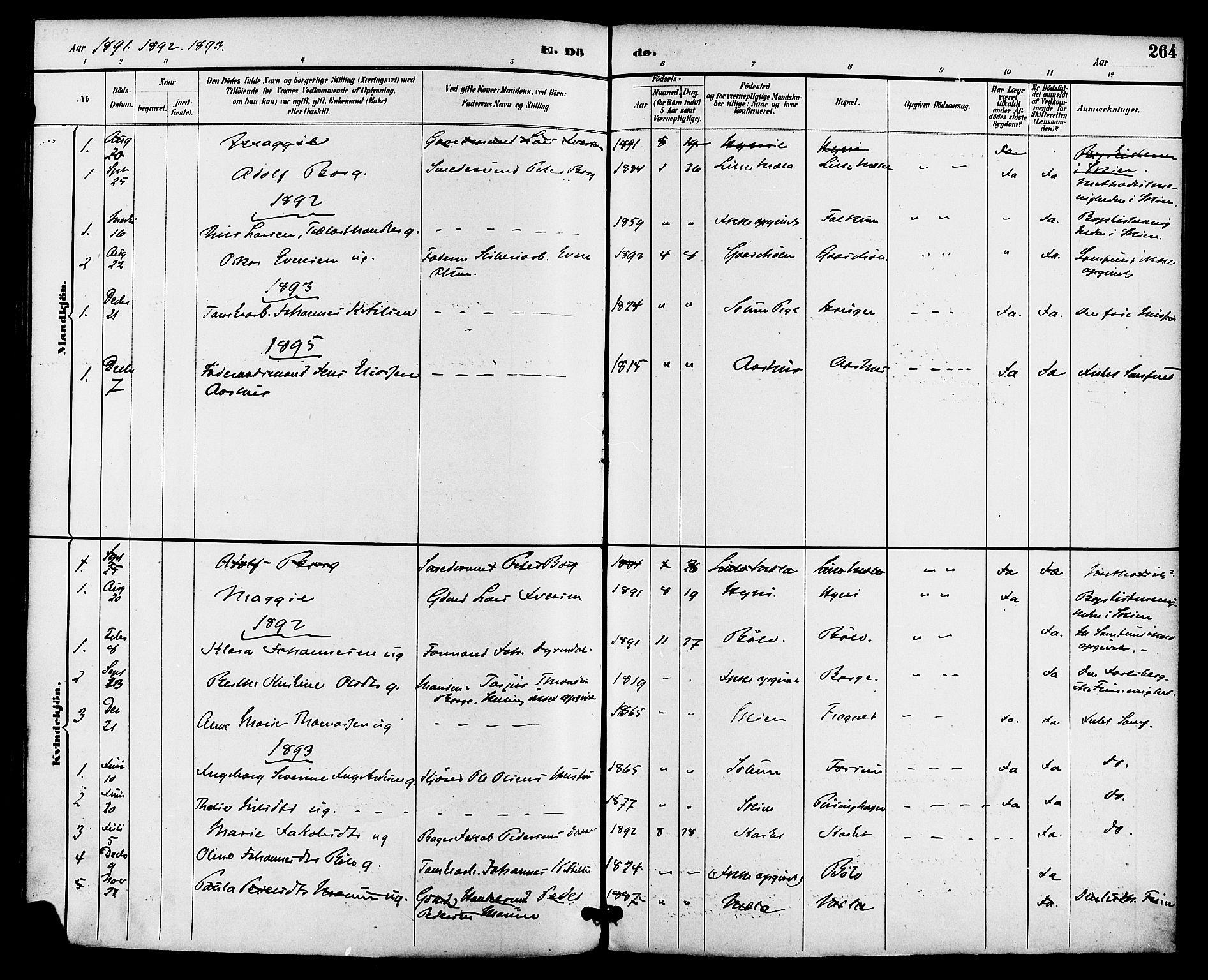 SAKO, Gjerpen kirkebøker, F/Fa/L0010: Ministerialbok nr. 10, 1886-1895, s. 264