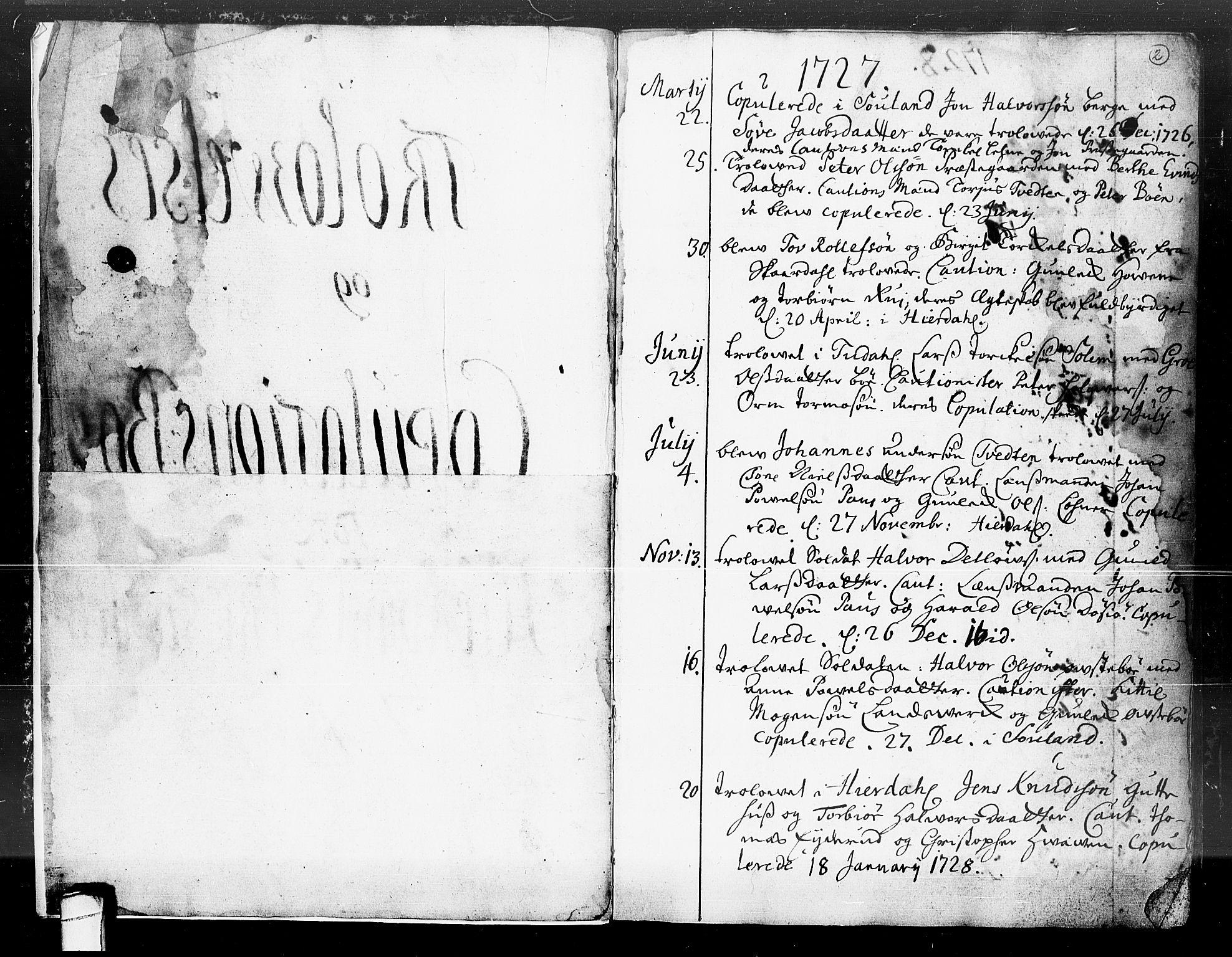 SAKO, Hjartdal kirkebøker, F/Fa/L0004: Ministerialbok nr. I 4, 1727-1795, s. 2