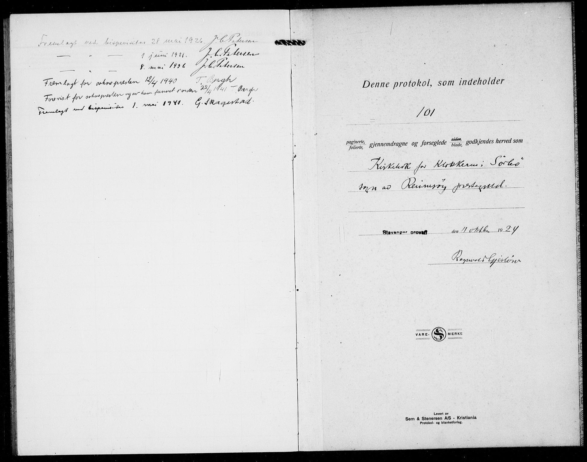 SAST, Rennesøy sokneprestkontor, H/Ha/Hab/L0016: Klokkerbok nr. B 15, 1925-1941