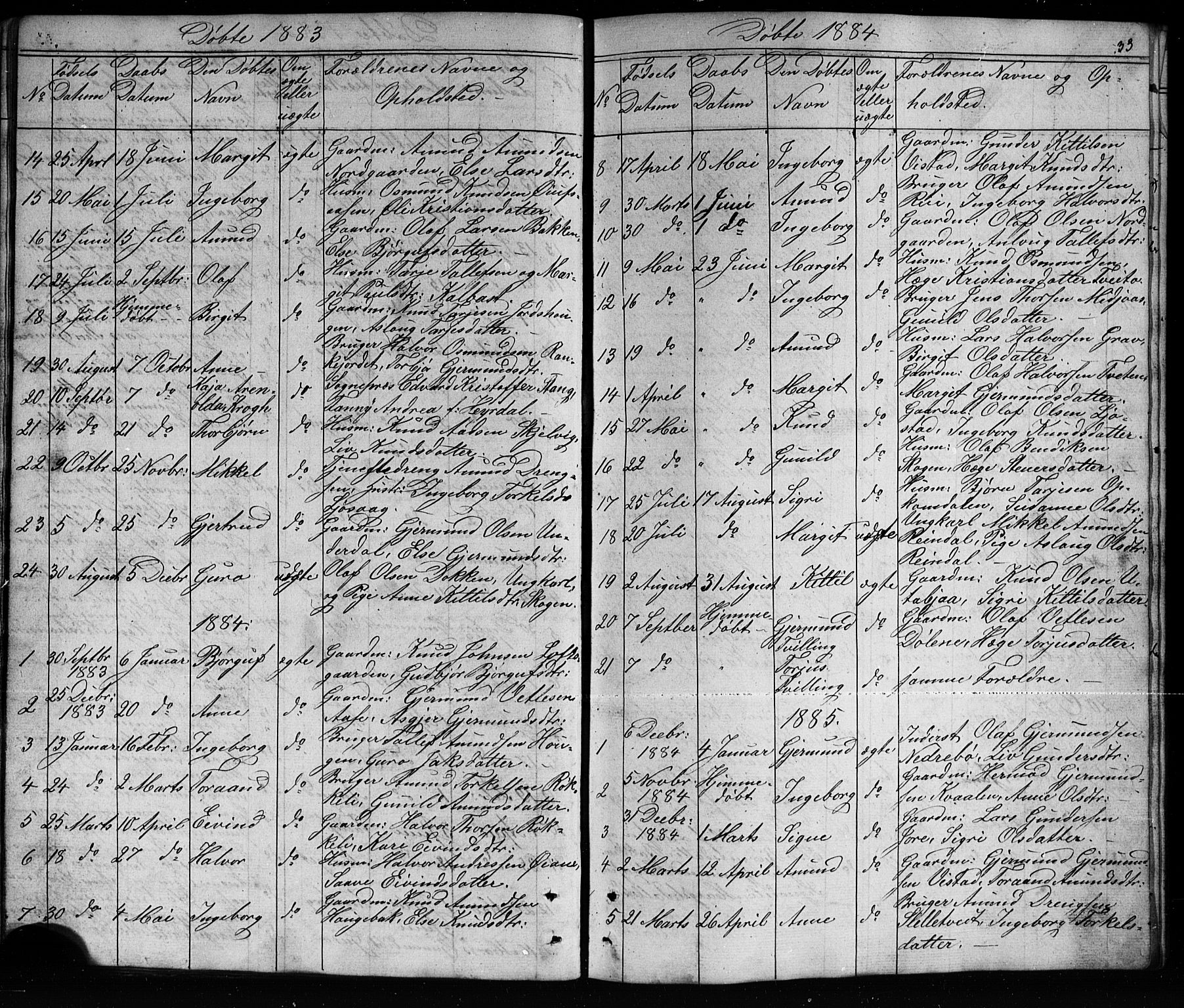 SAKO, Mo kirkebøker, G/Ga/L0001: Klokkerbok nr. I 1, 1851-1891, s. 33
