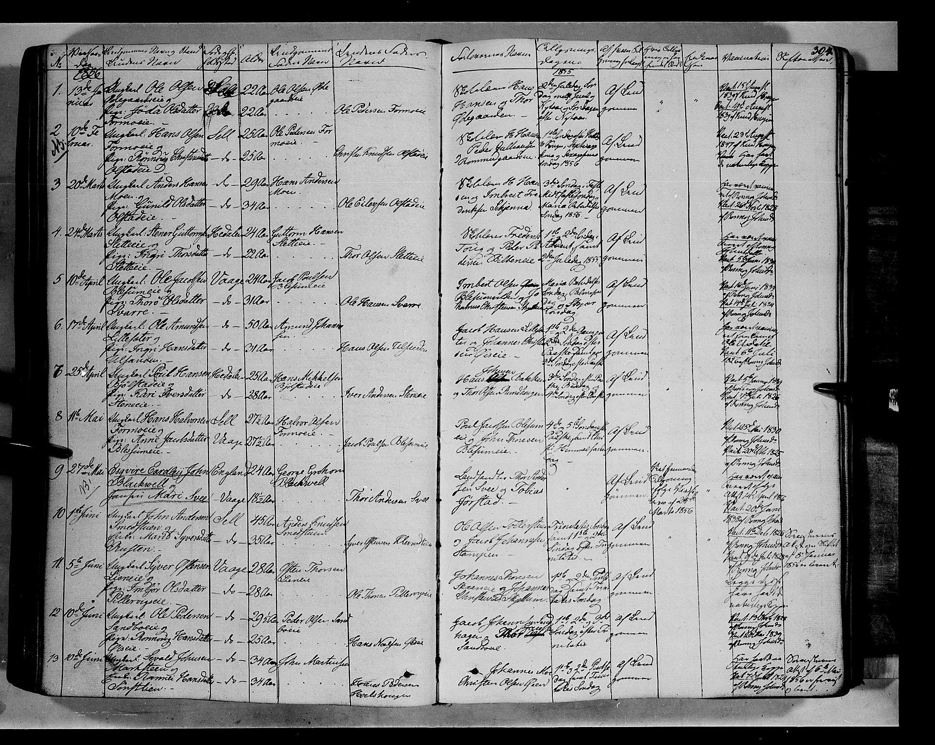 SAH, Vågå prestekontor, Ministerialbok nr. 5 /1, 1842-1856, s. 304