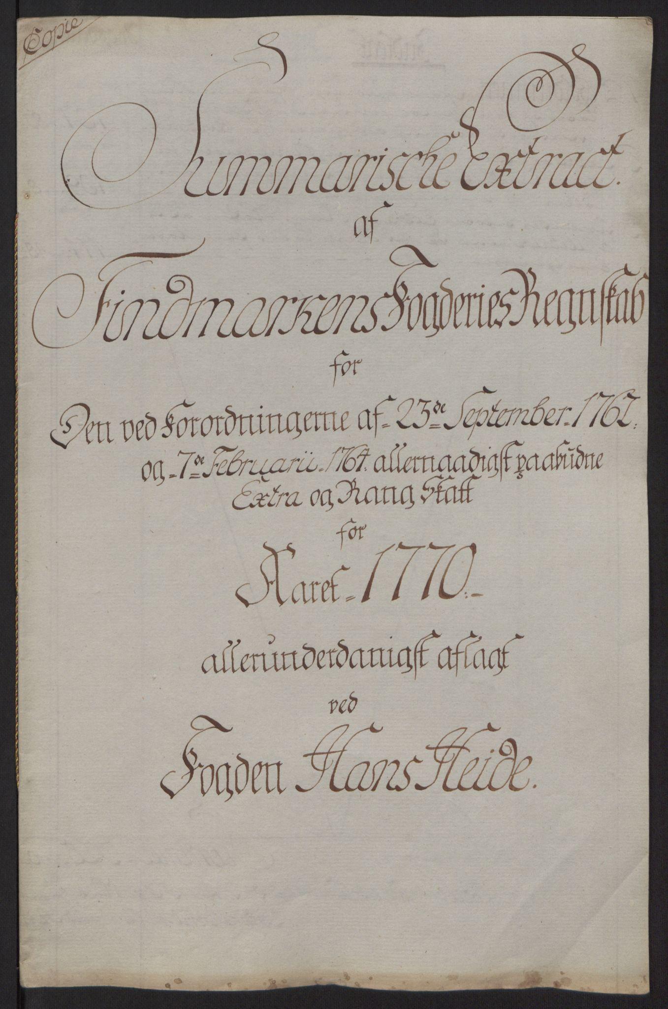 RA, Rentekammeret inntil 1814, Reviderte regnskaper, Fogderegnskap, R69/L4910: Ekstraskatten  Finnmark/Vardøhus, 1762-1772, s. 366