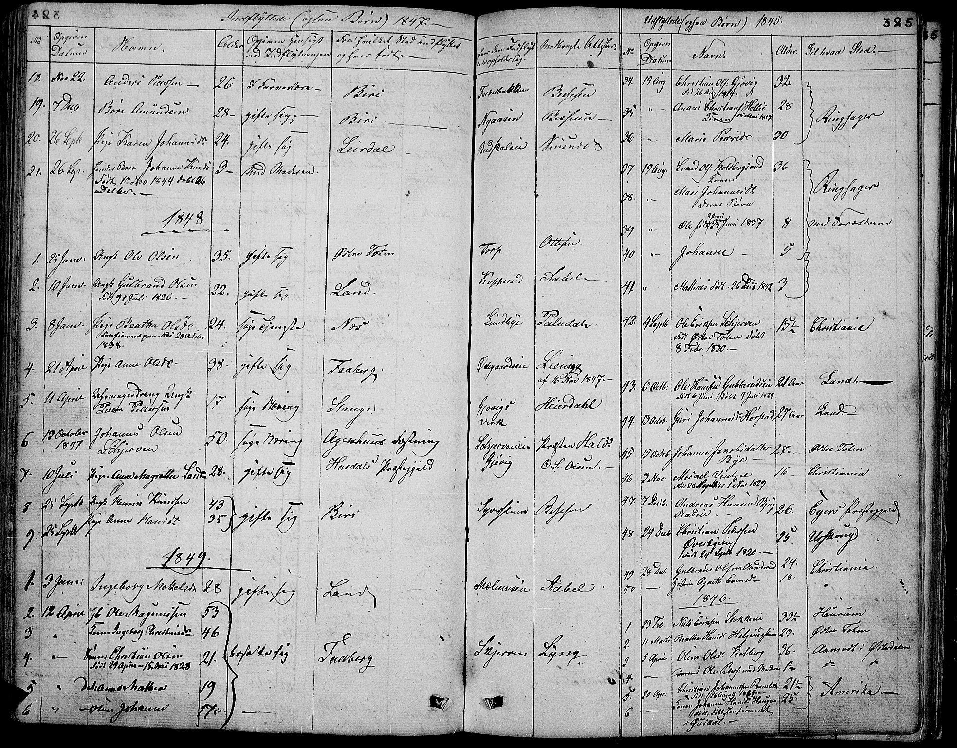 SAH, Vardal prestekontor, H/Ha/Hab/L0004: Klokkerbok nr. 4, 1831-1853, s. 325
