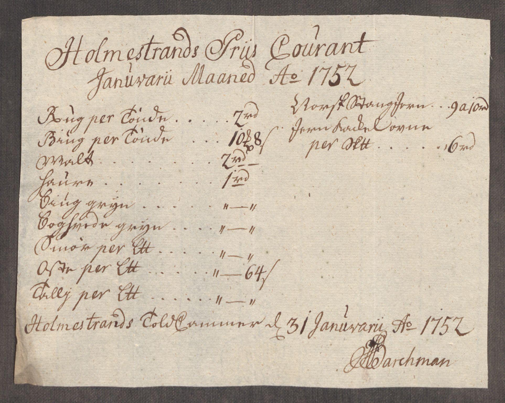 RA, Rentekammeret inntil 1814, Realistisk ordnet avdeling, Oe/L0004: [Ø1]: Priskuranter, 1749-1752, s. 866