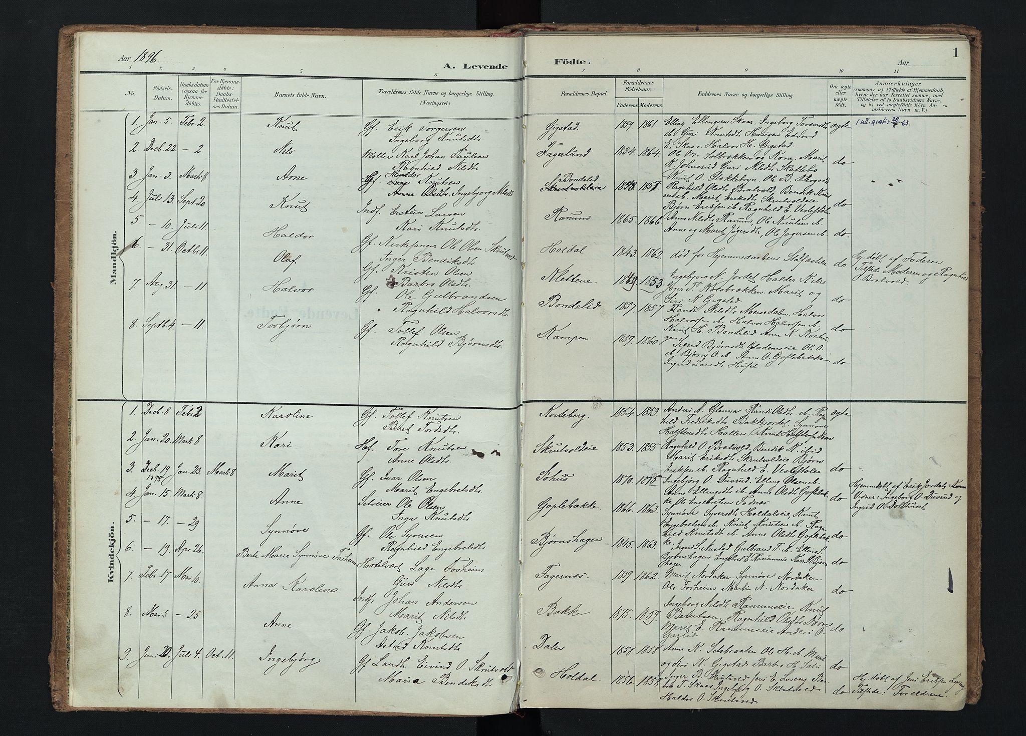 SAH, Nord-Aurdal prestekontor, Ministerialbok nr. 15, 1896-1914, s. 1
