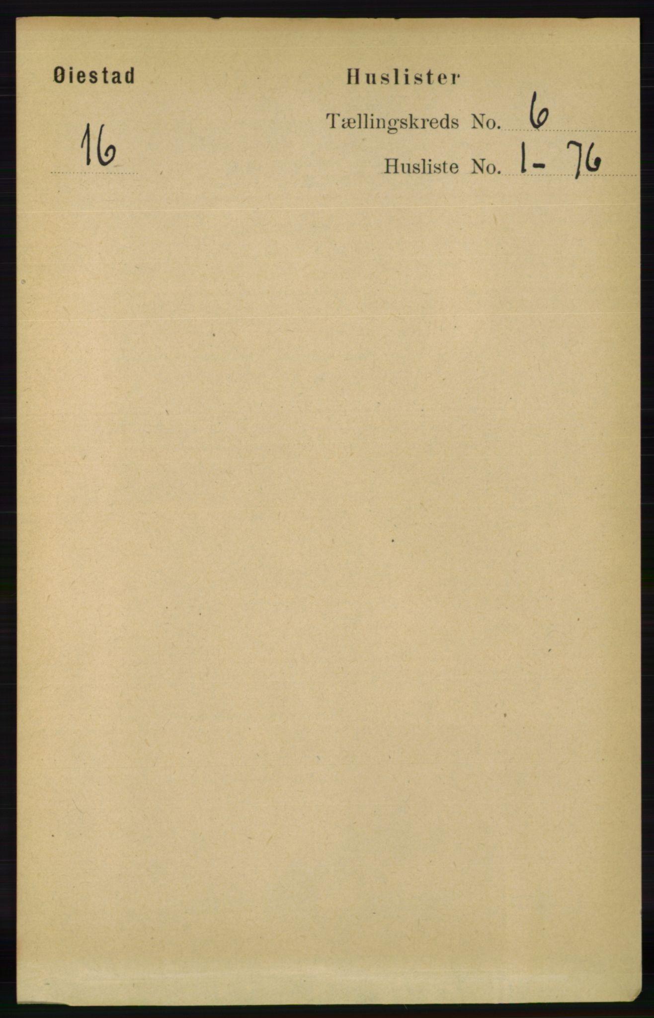 RA, Folketelling 1891 for 0920 Øyestad herred, 1891, s. 2052