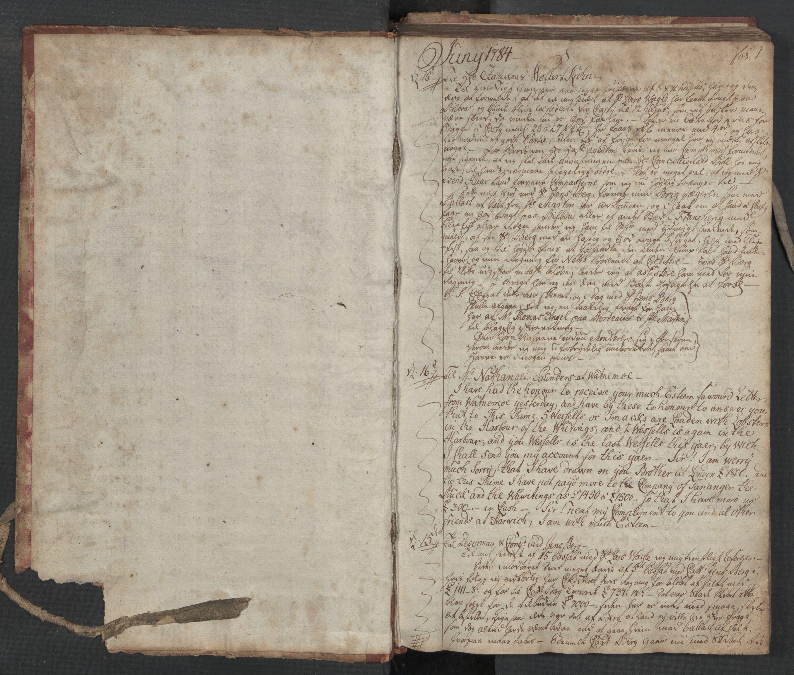 SAST, Pa 0003 - Ploug & Sundt, handelshuset, B/L0005: Kopibok, 1784-1788, s. 1a