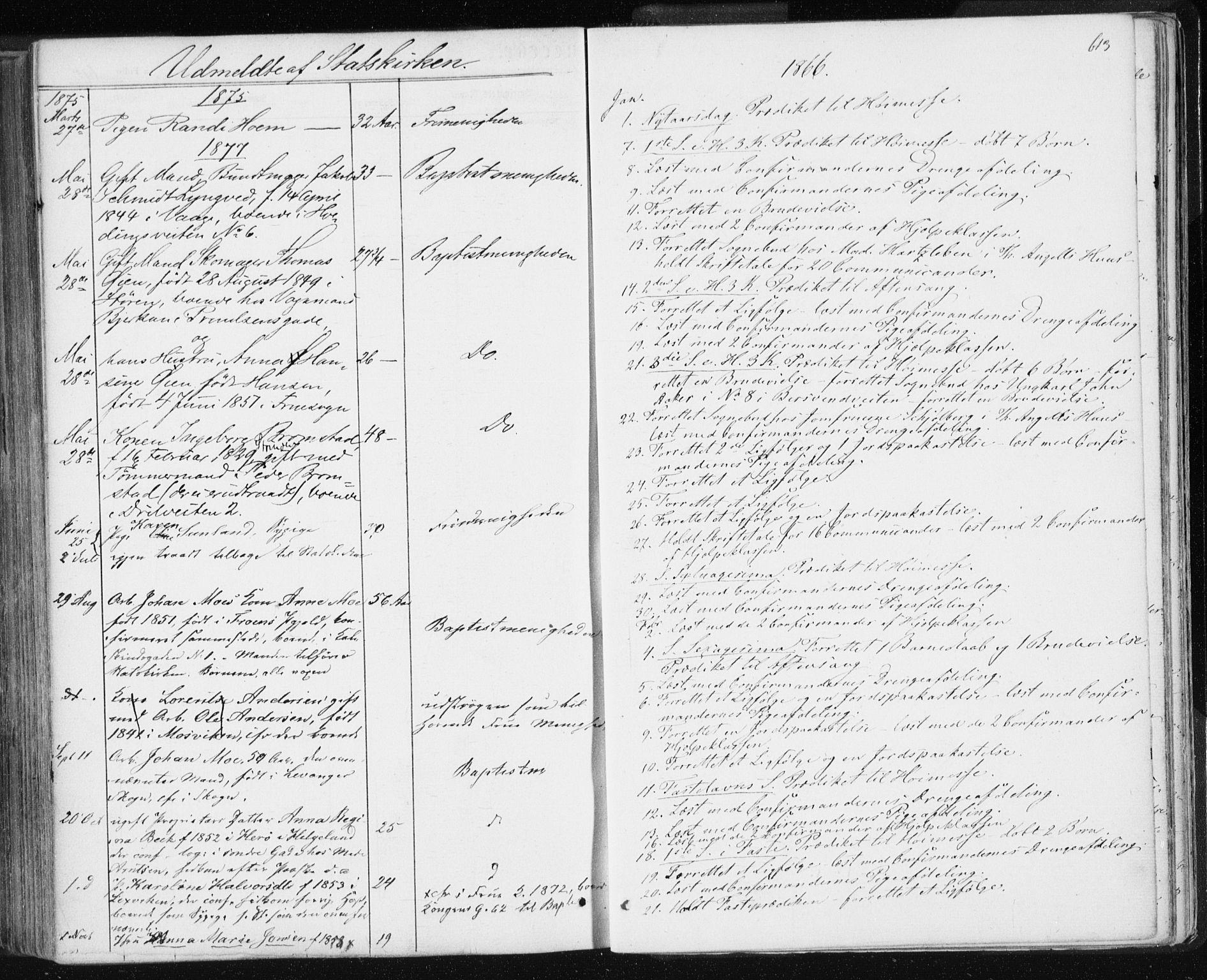 SAT, Ministerialprotokoller, klokkerbøker og fødselsregistre - Sør-Trøndelag, 601/L0055: Ministerialbok nr. 601A23, 1866-1877, s. 613
