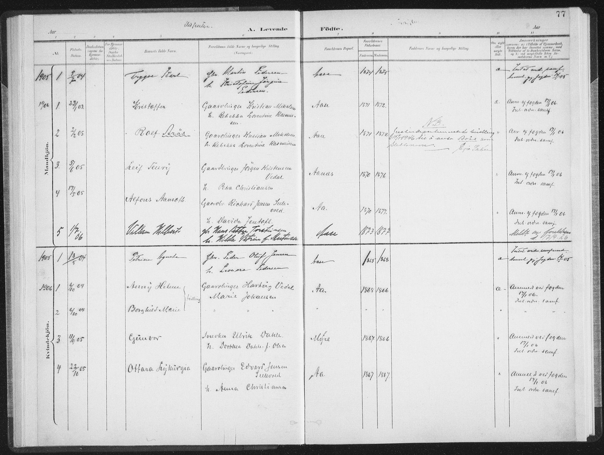 SAT, Ministerialprotokoller, klokkerbøker og fødselsregistre - Nordland, 897/L1400: Ministerialbok nr. 897A07, 1897-1908, s. 77