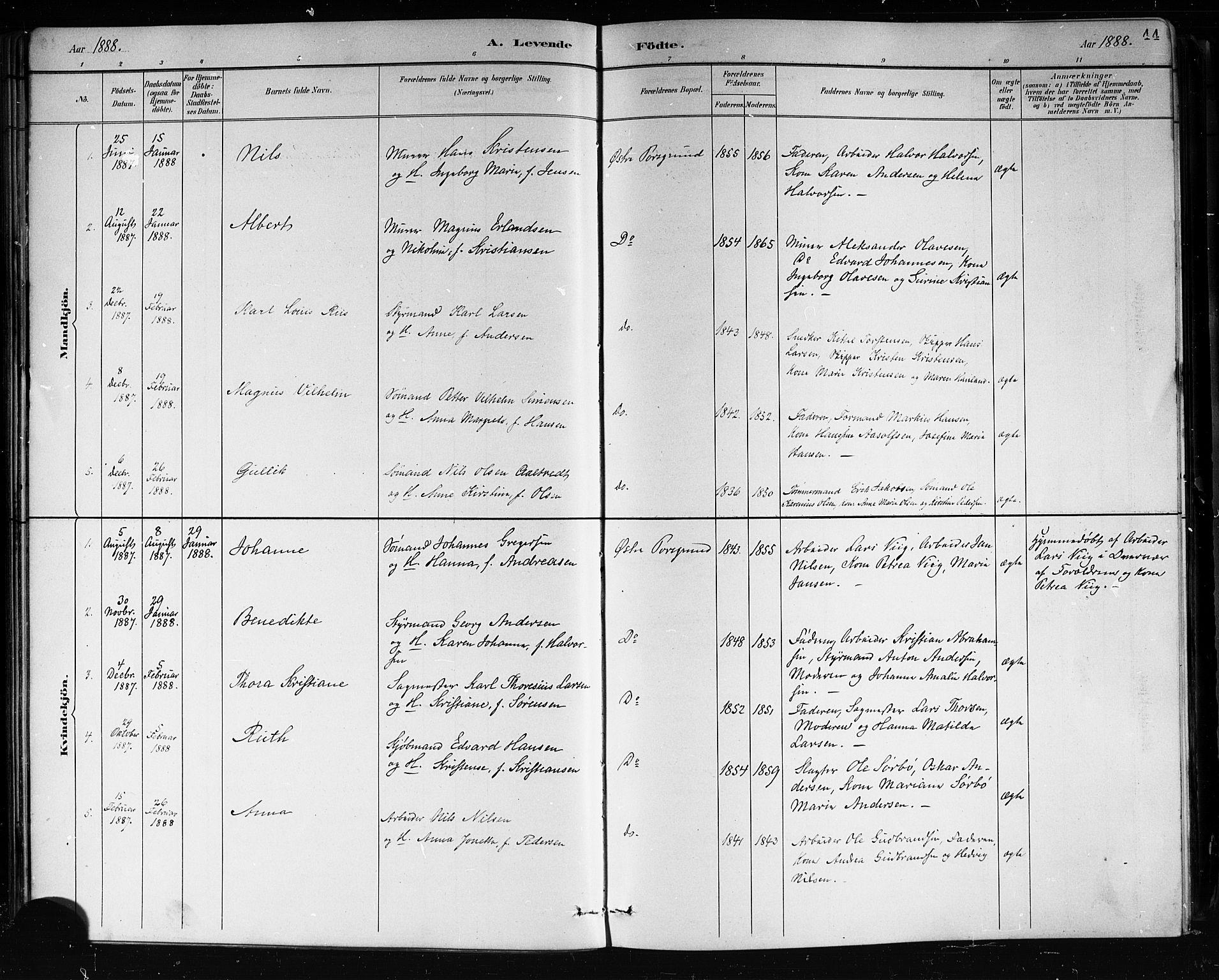SAKO, Porsgrunn kirkebøker , G/Gb/L0005: Klokkerbok nr. II 5, 1883-1915, s. 44