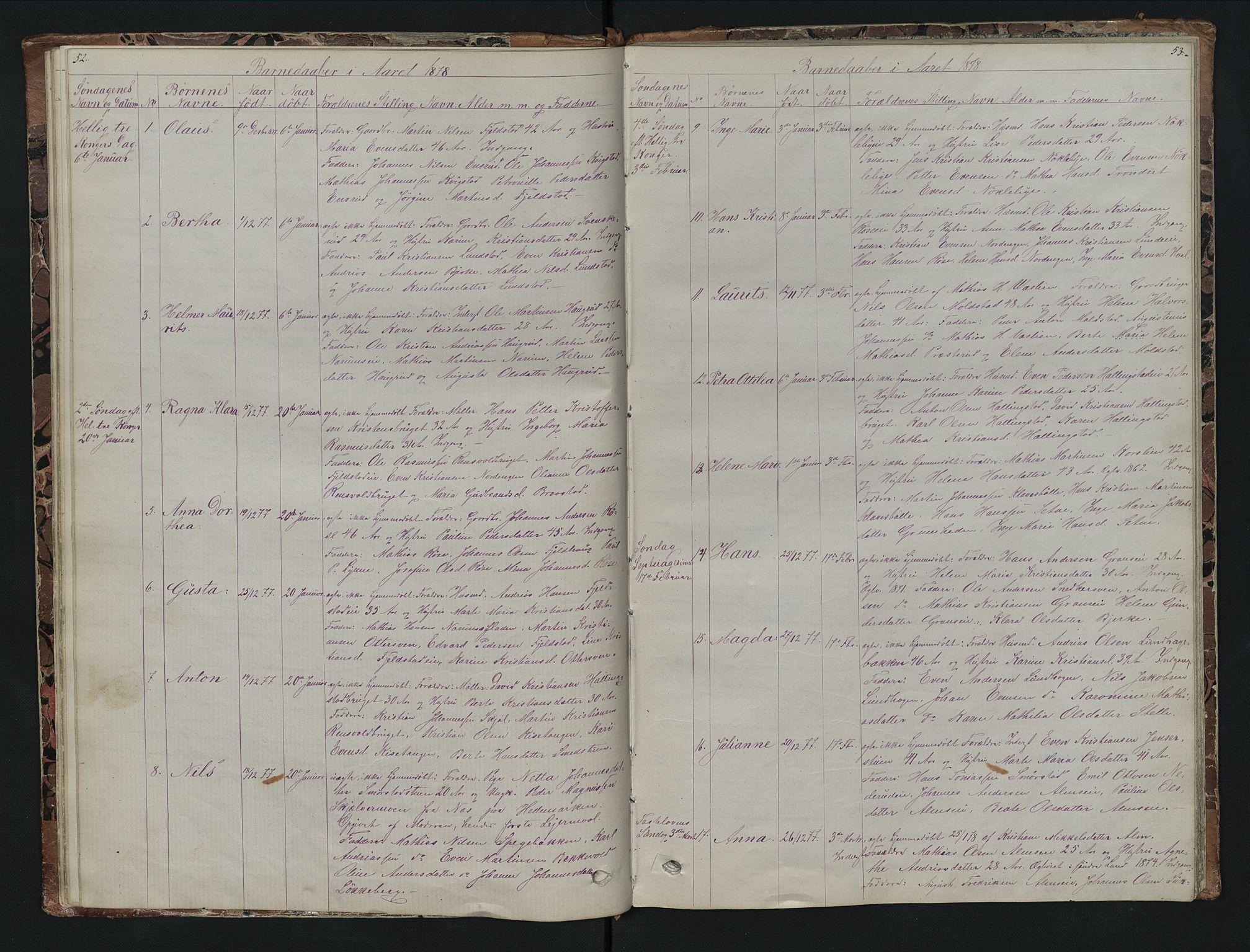 SAH, Vestre Toten prestekontor, H/Ha/Hab/L0007: Klokkerbok nr. 7, 1872-1900, s. 52-53