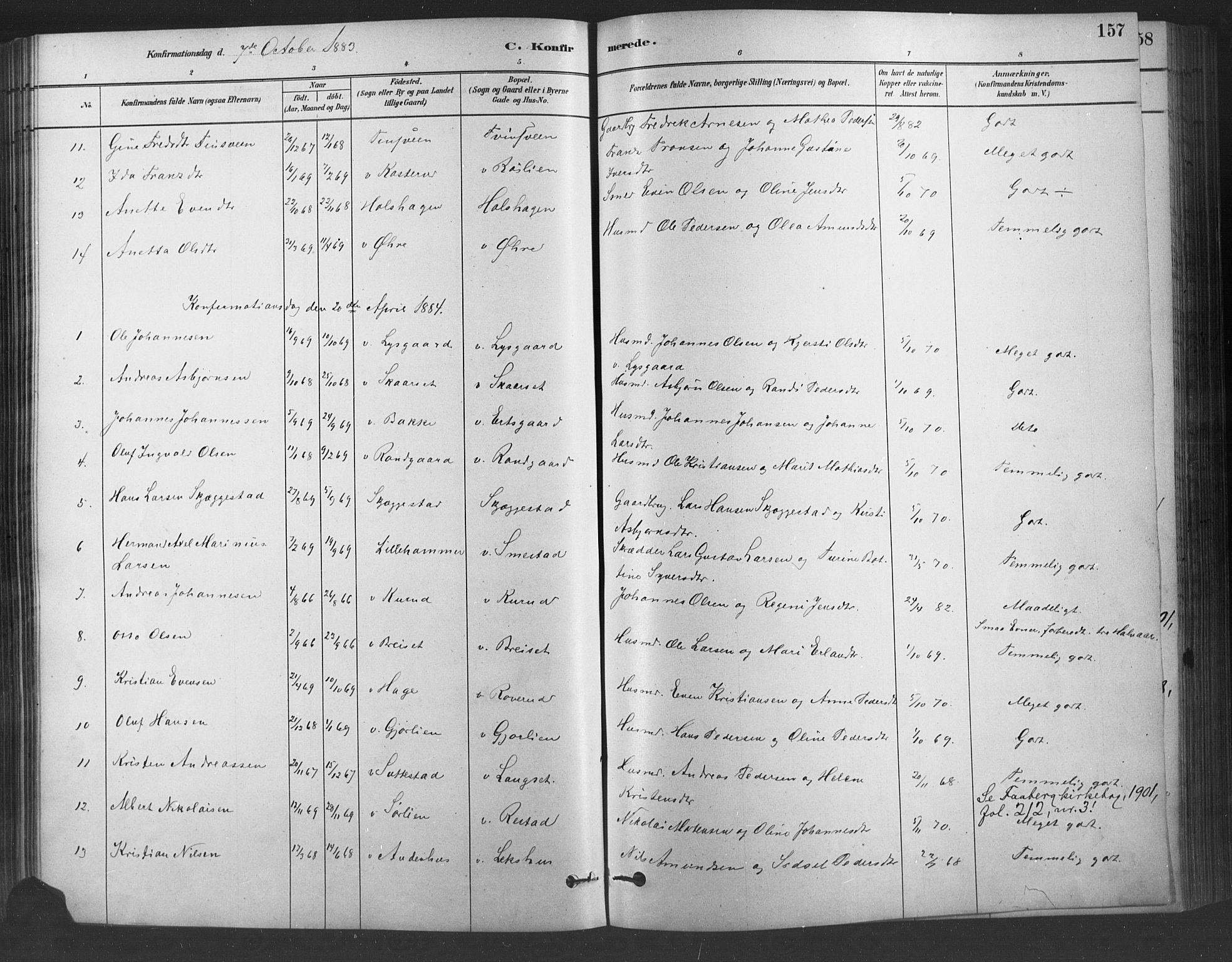 SAH, Fåberg prestekontor, Ministerialbok nr. 9, 1879-1898, s. 157