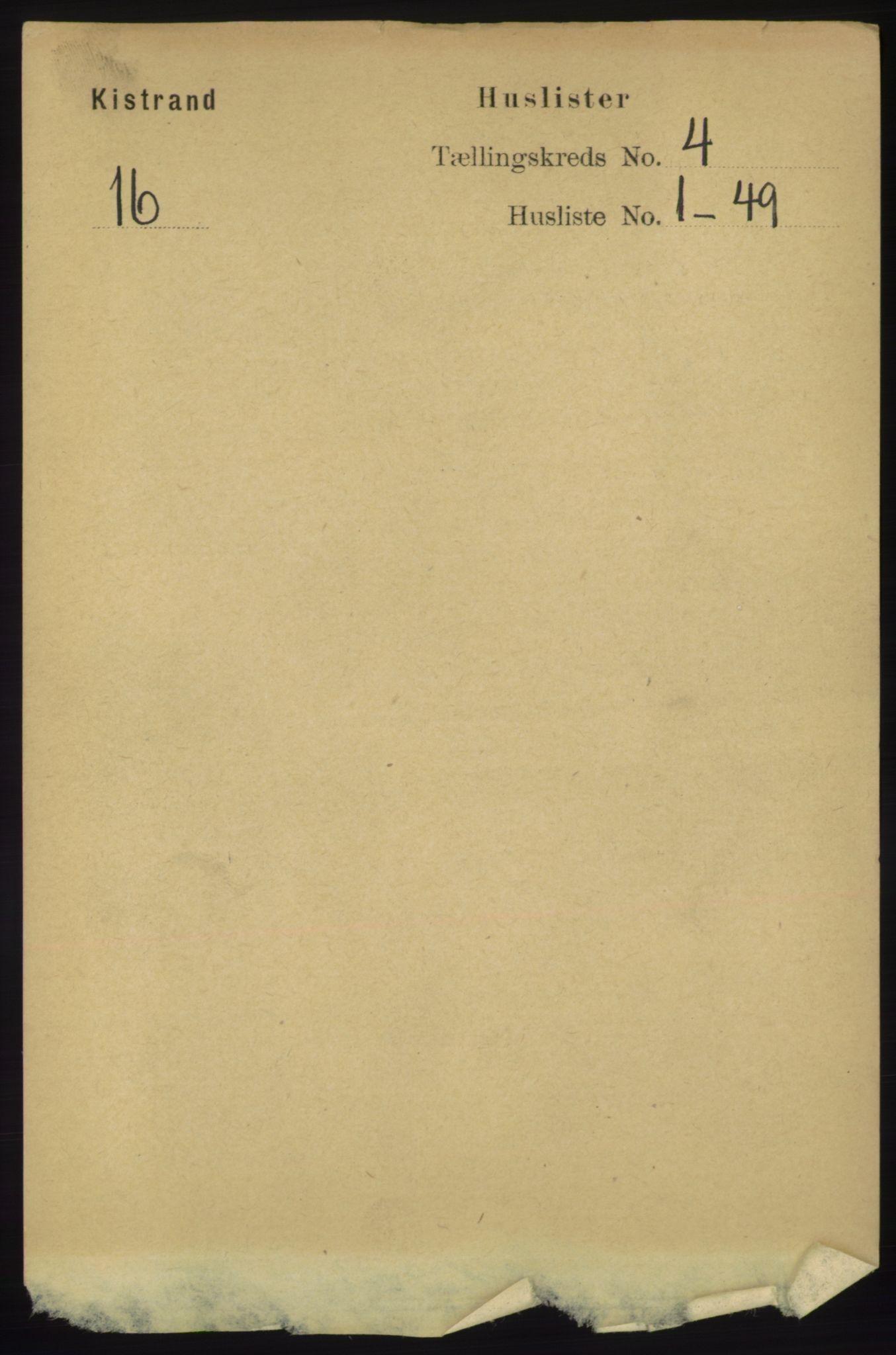 RA, Folketelling 1891 for 2020 Kistrand herred, 1891, s. 1885