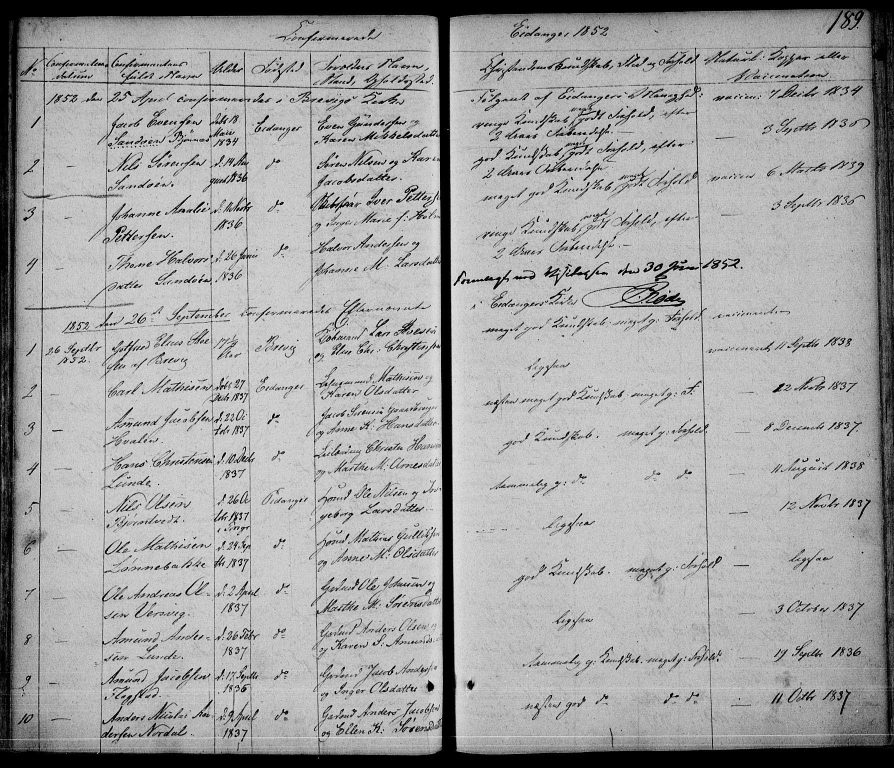 SAKO, Eidanger kirkebøker, F/Fa/L0008: Ministerialbok nr. 8, 1831-1858, s. 189