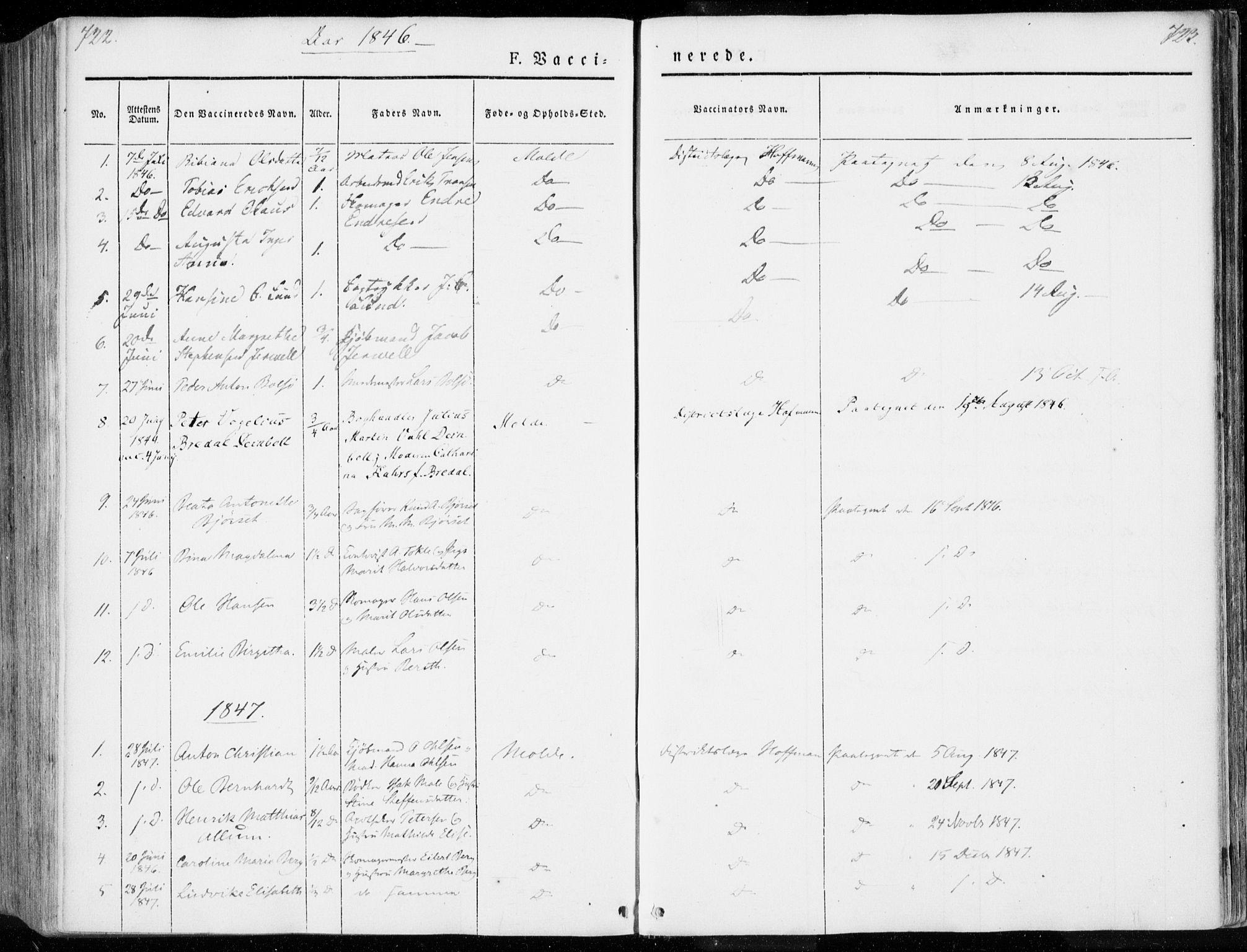 SAT, Ministerialprotokoller, klokkerbøker og fødselsregistre - Møre og Romsdal, 558/L0689: Ministerialbok nr. 558A03, 1843-1872, s. 722-723