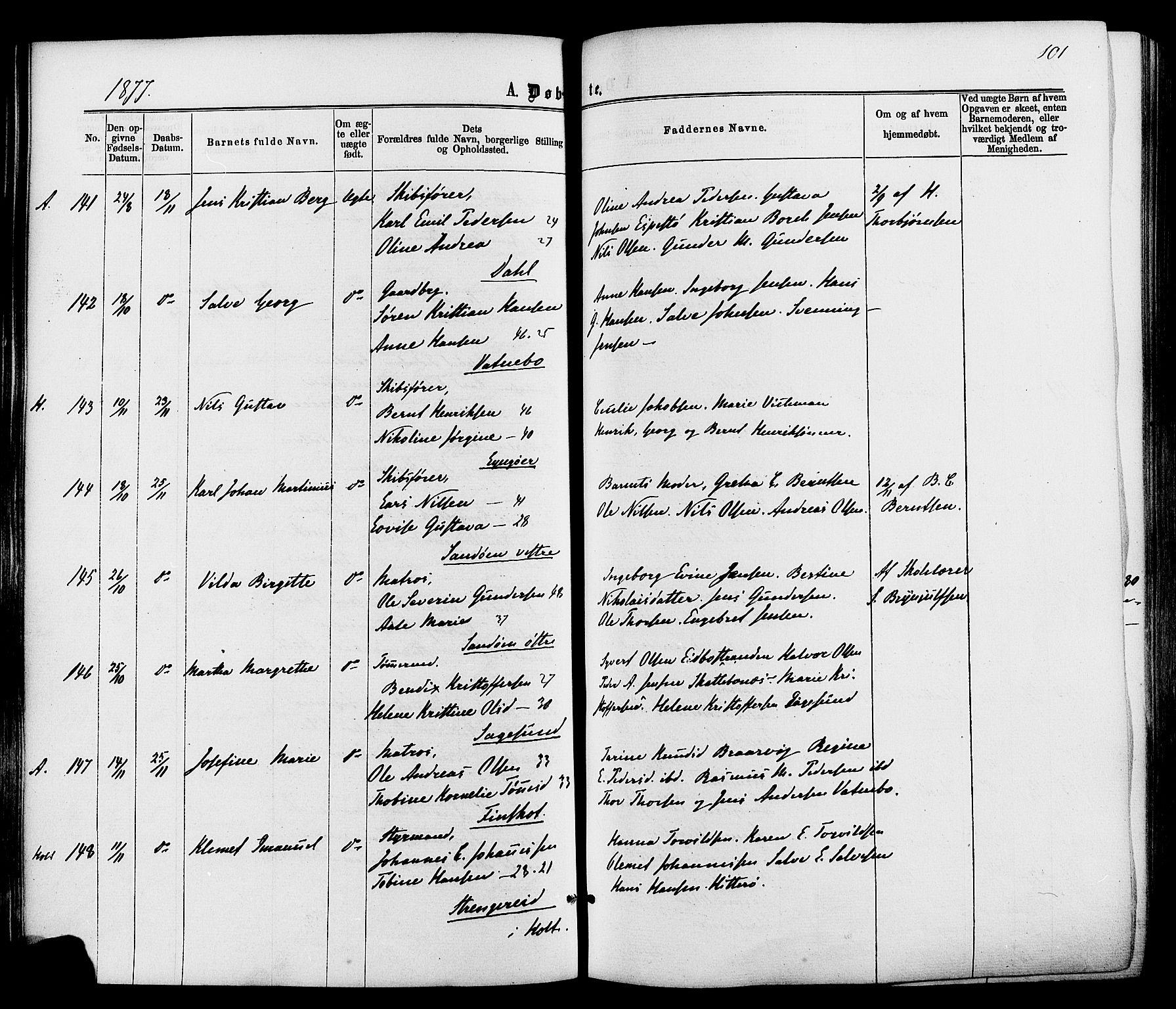 SAK, Dypvåg sokneprestkontor, F/Fa/Faa/L0007: Ministerialbok nr. A 7/ 1, 1872-1884, s. 101