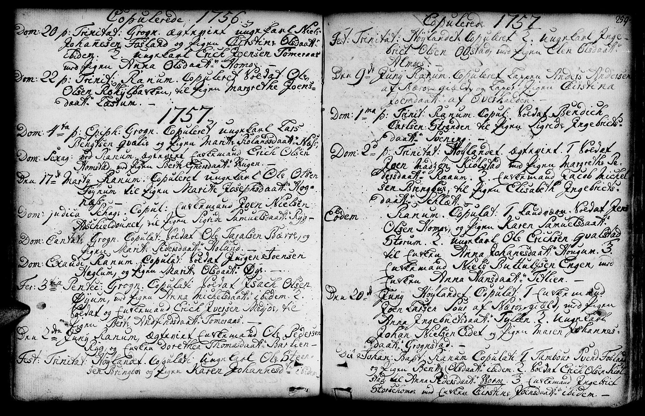 SAT, Ministerialprotokoller, klokkerbøker og fødselsregistre - Nord-Trøndelag, 764/L0542: Ministerialbok nr. 764A02, 1748-1779, s. 259