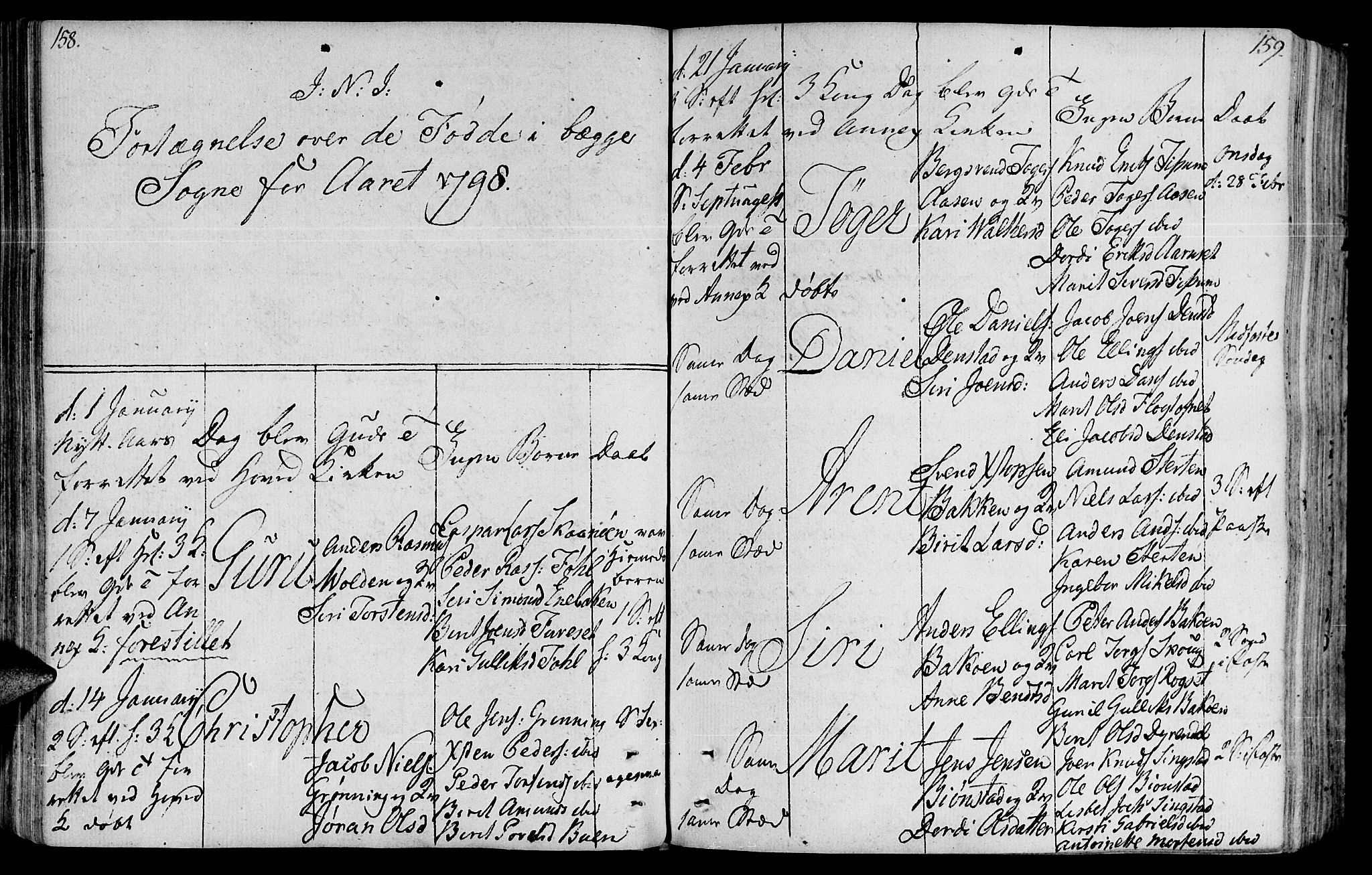 SAT, Ministerialprotokoller, klokkerbøker og fødselsregistre - Sør-Trøndelag, 646/L0606: Ministerialbok nr. 646A04, 1791-1805, s. 158-159