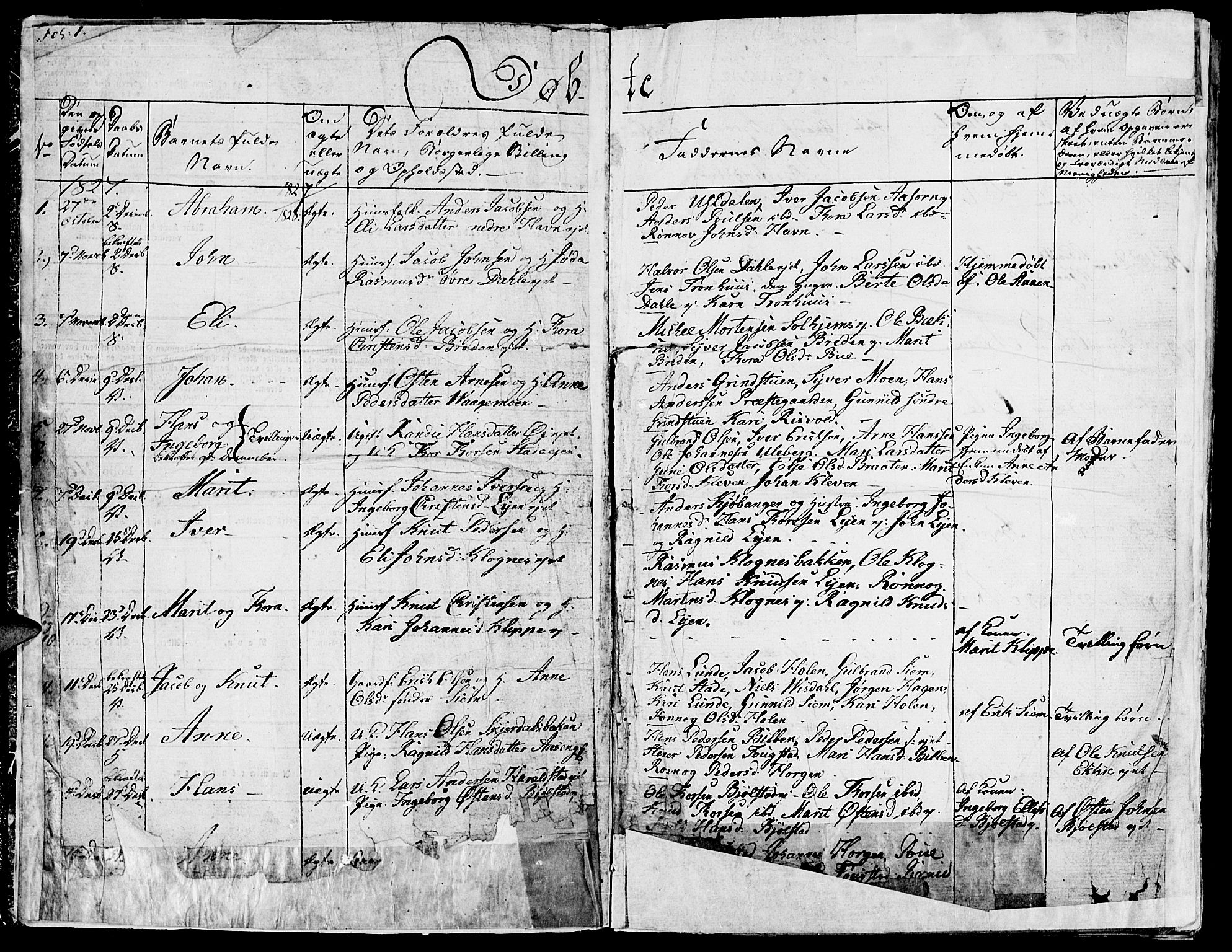 SAH, Vågå prestekontor, Ministerialbok nr. 4 /1, 1827-1842, s. 1