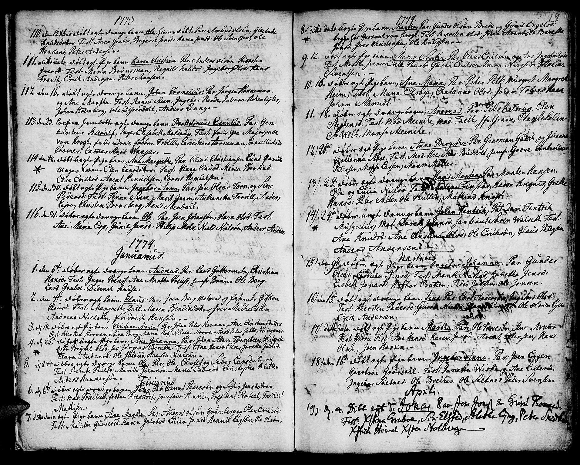 SAT, Ministerialprotokoller, klokkerbøker og fødselsregistre - Sør-Trøndelag, 601/L0039: Ministerialbok nr. 601A07, 1770-1819, s. 19